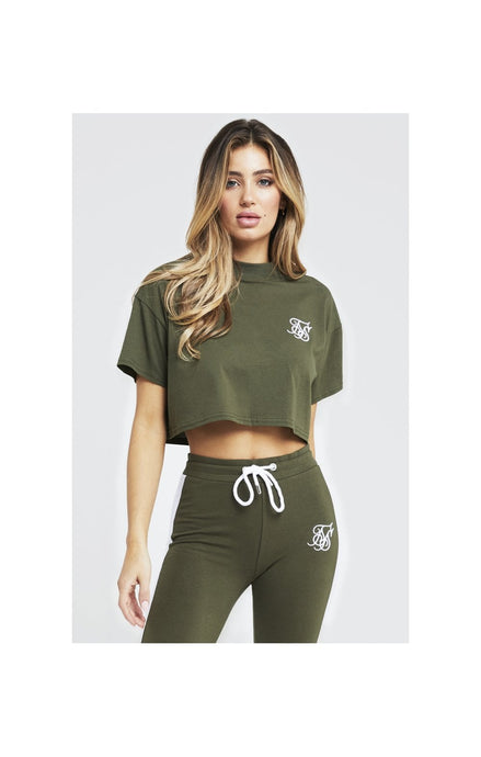 SikSilk Retro Box Fit Crop Tee – Khaki