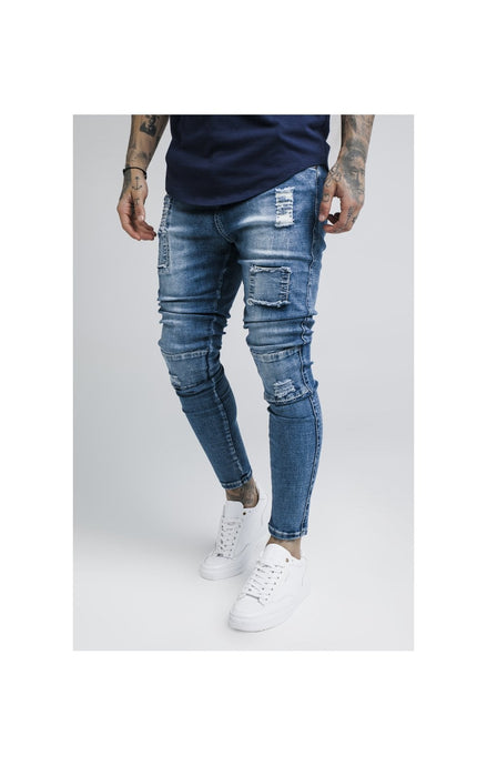 SikSilk Bust Knee Low Rise Denims - Washed Blue