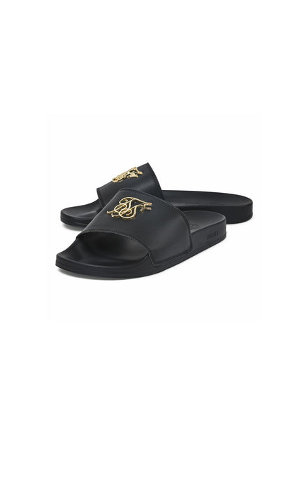 SikSilk Roma Lux Slides - Black & Gold