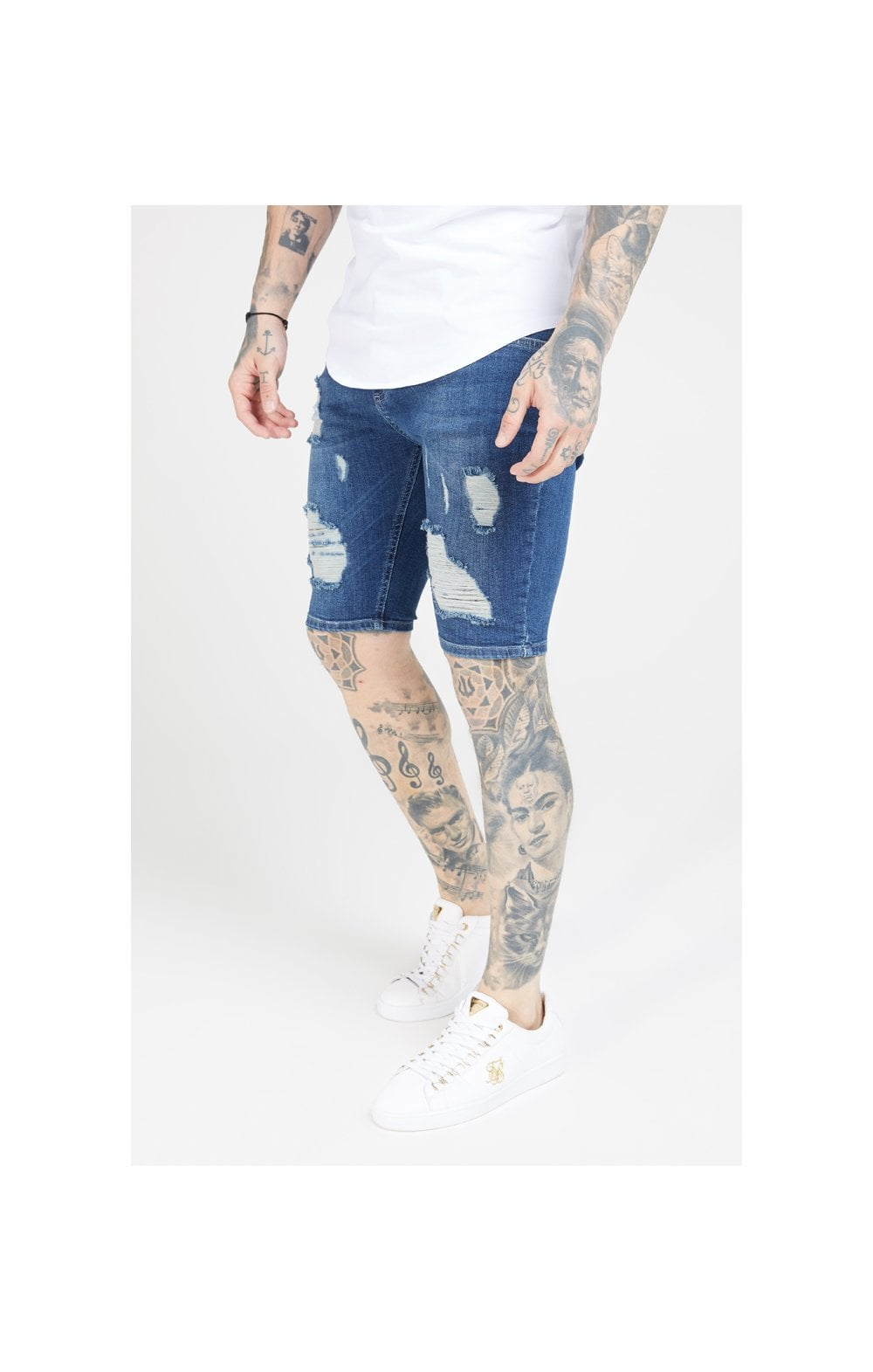 SikSilk Distressed Skinny Shorts – Midstone