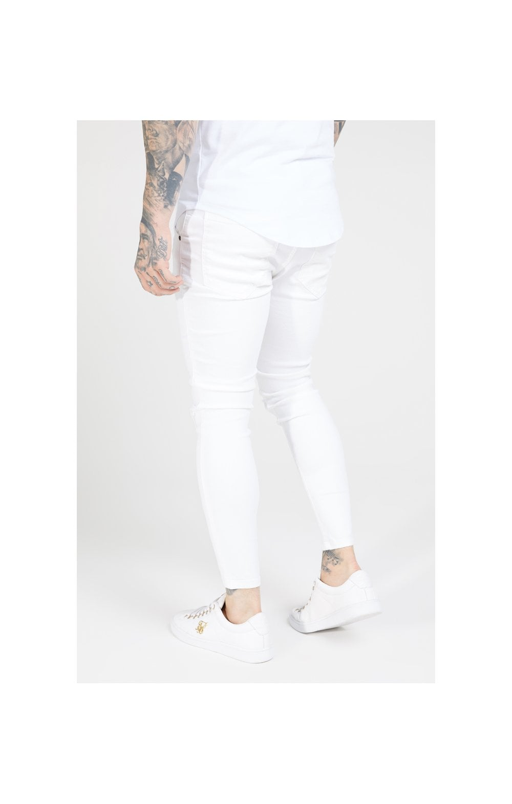 Load image into Gallery viewer, SikSilk Skinny Distressed Denim – White (1)