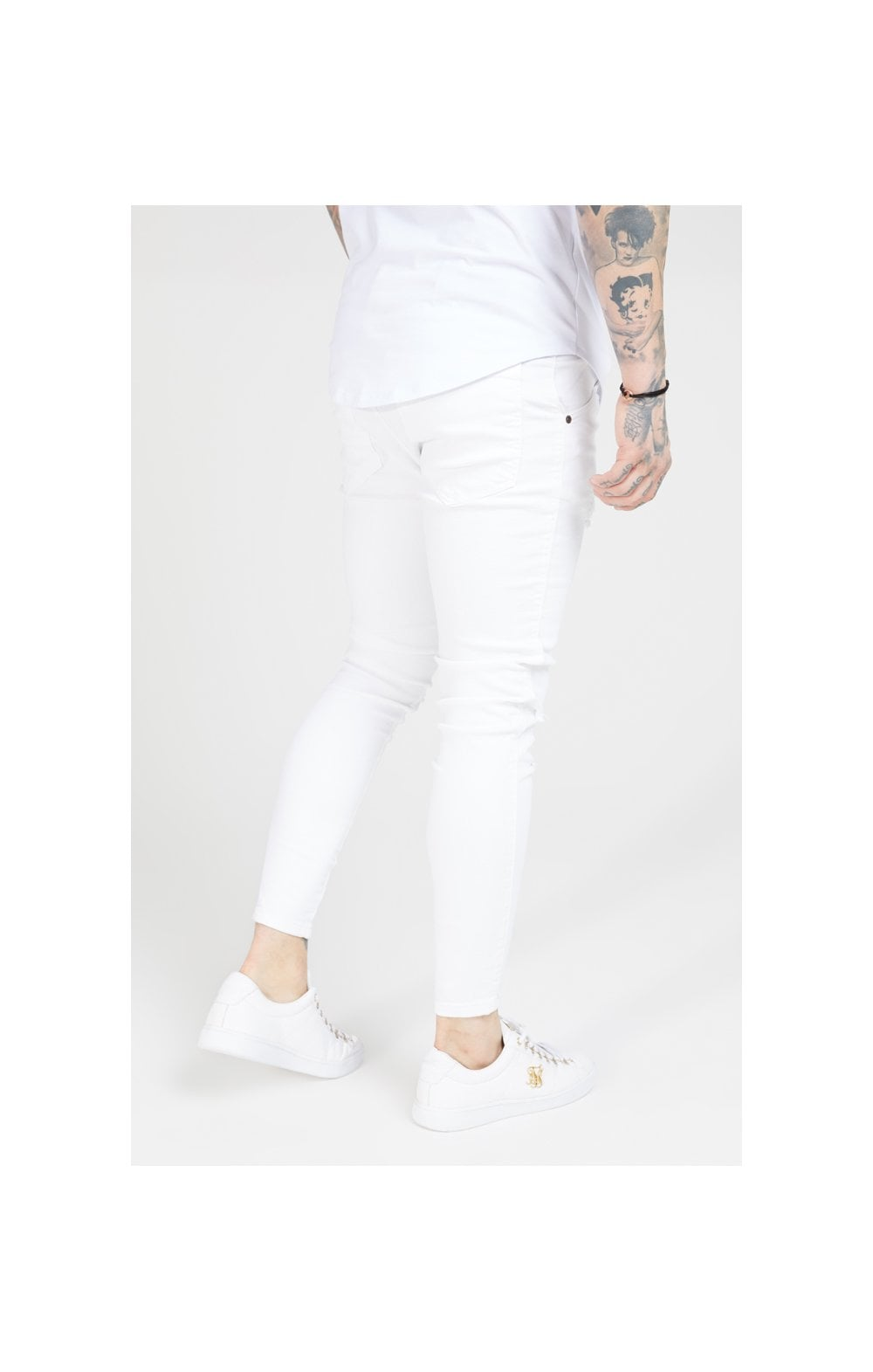 Load image into Gallery viewer, SikSilk Skinny Distressed Denim – White (2)