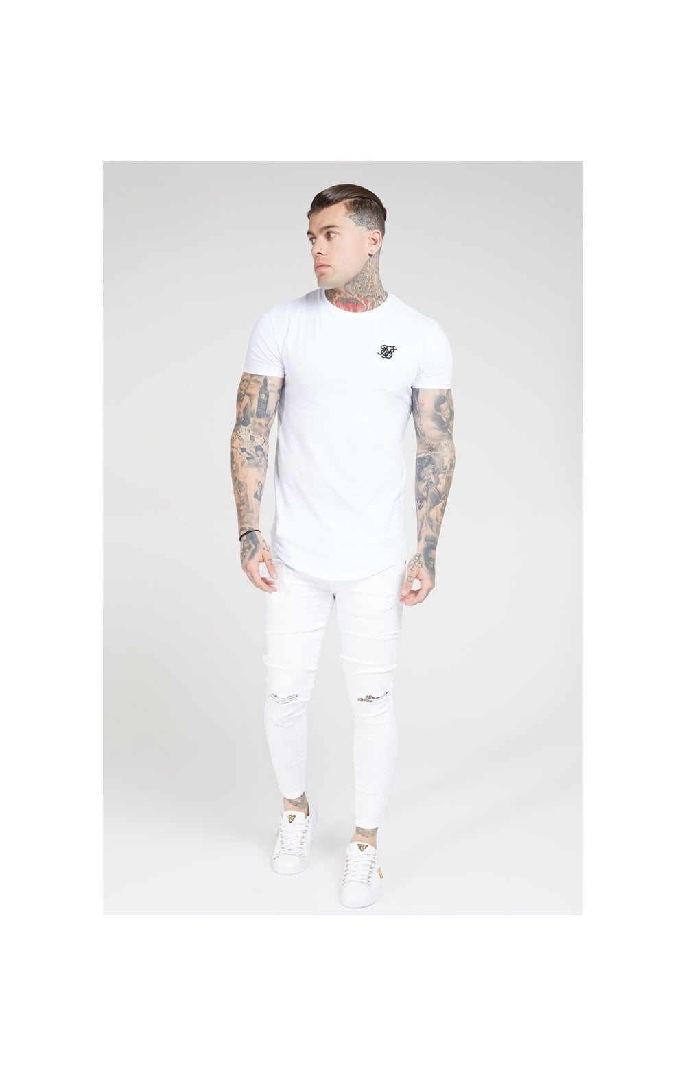 Load image into Gallery viewer, SikSilk Skinny Distressed Denim – White (3)