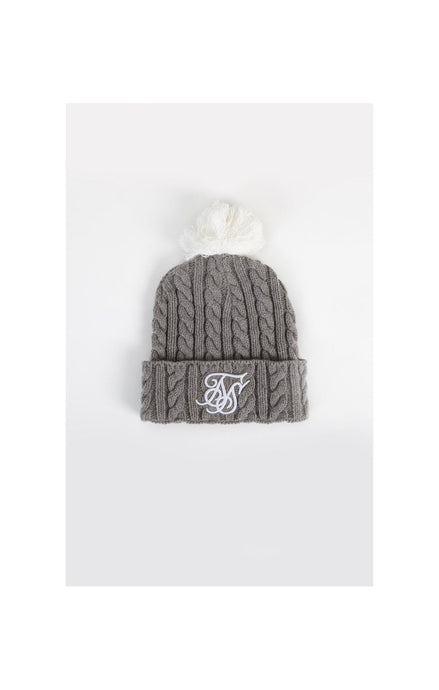 SikSilk-Cable-Bobble-Hat–Marl-&-White