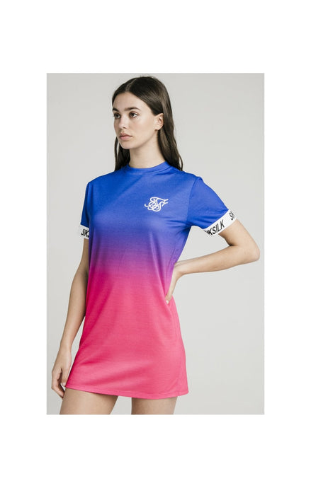 SikSilk Fade Tape Tee Dress - Blue & Pink