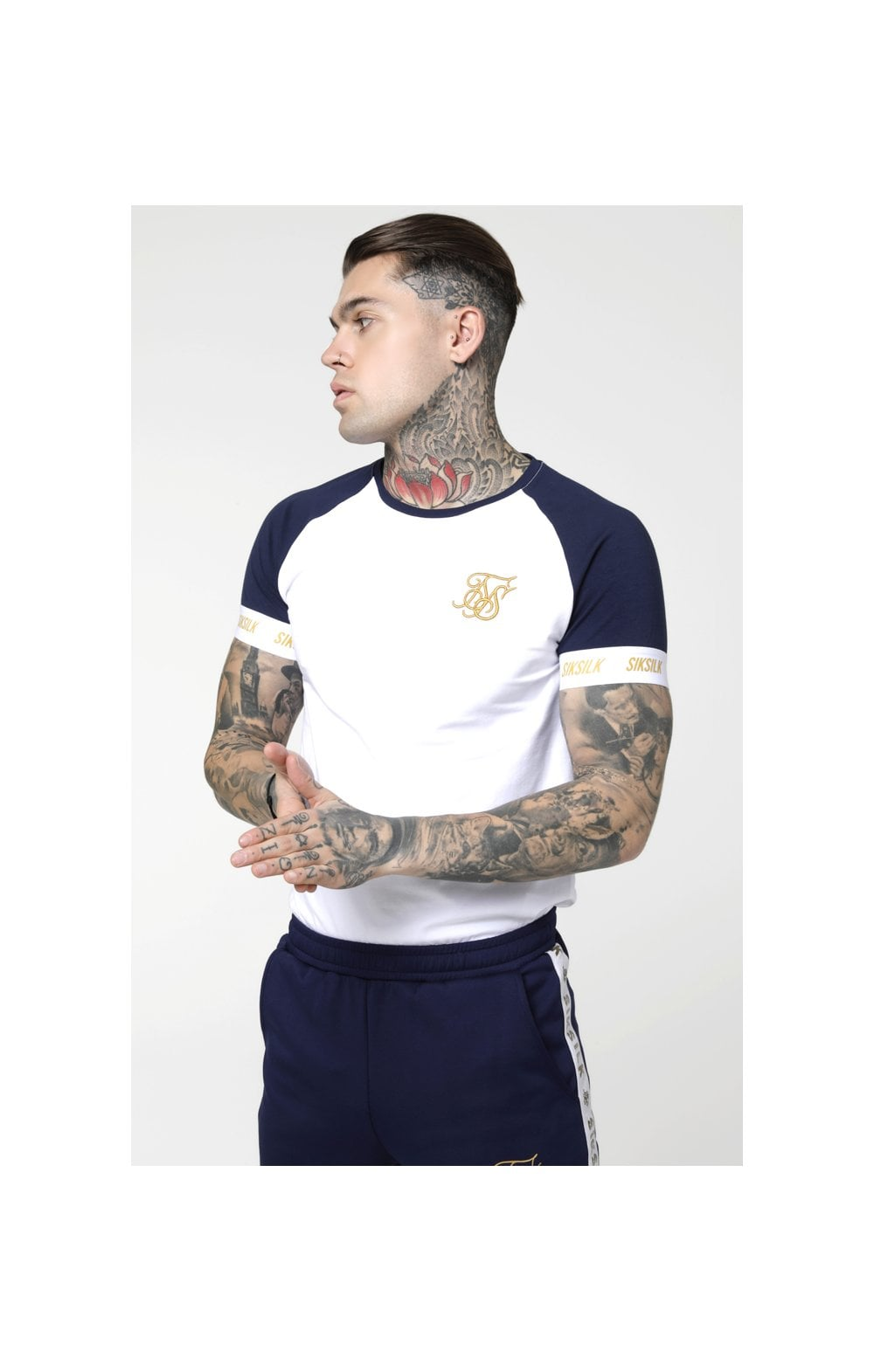 SikSilk S/S Tech Tee - Navy, White & Gold
