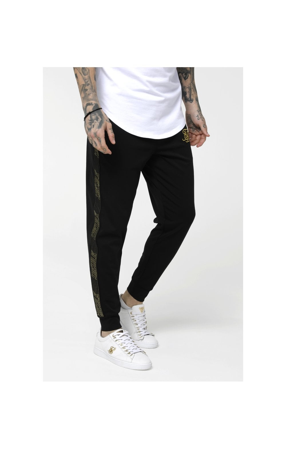 SikSilk Gold Edit Cuffed Cropped Runner Joggers - Black