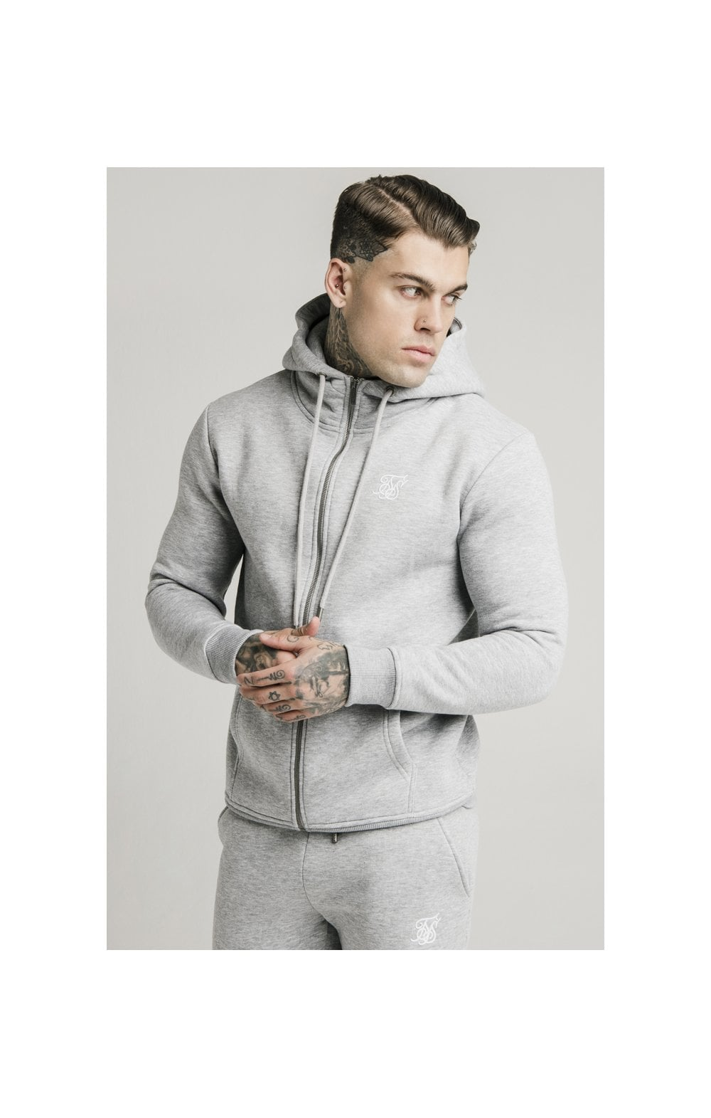 Load image into Gallery viewer, SikSilk Zip Through Funnel Neck Hoodie - Grey Marl (1)