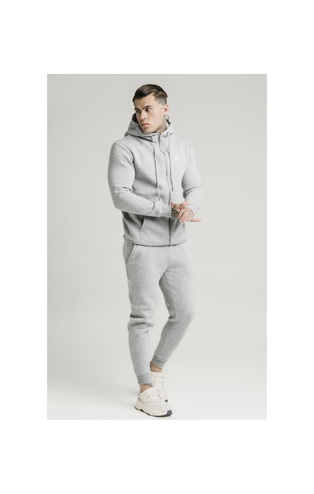 Load image into Gallery viewer, SikSilk Zip Through Funnel Neck Hoodie - Grey Marl (4)