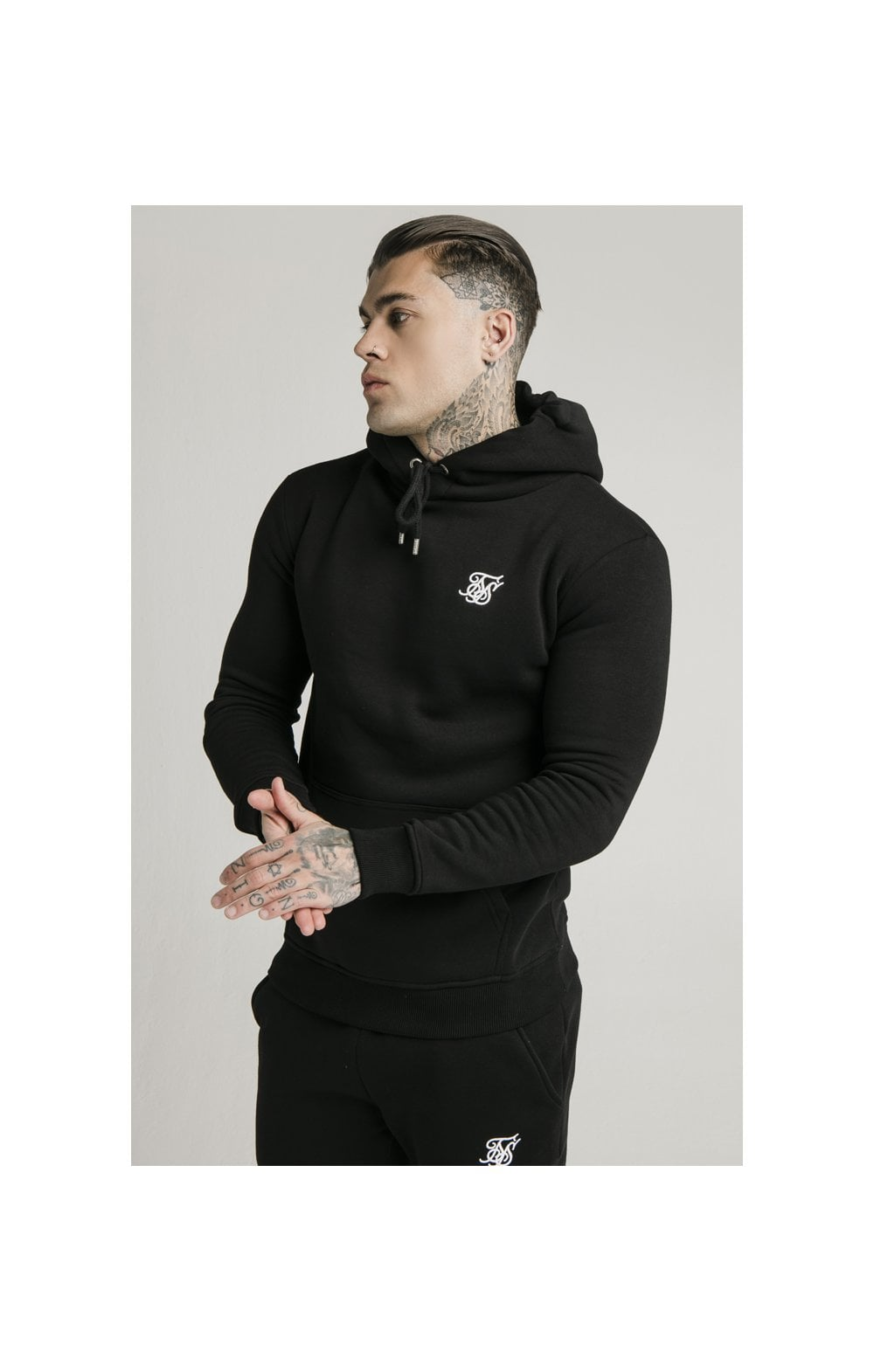 SikSilk Muscle Fit Overhead Hoodie - Black (1)