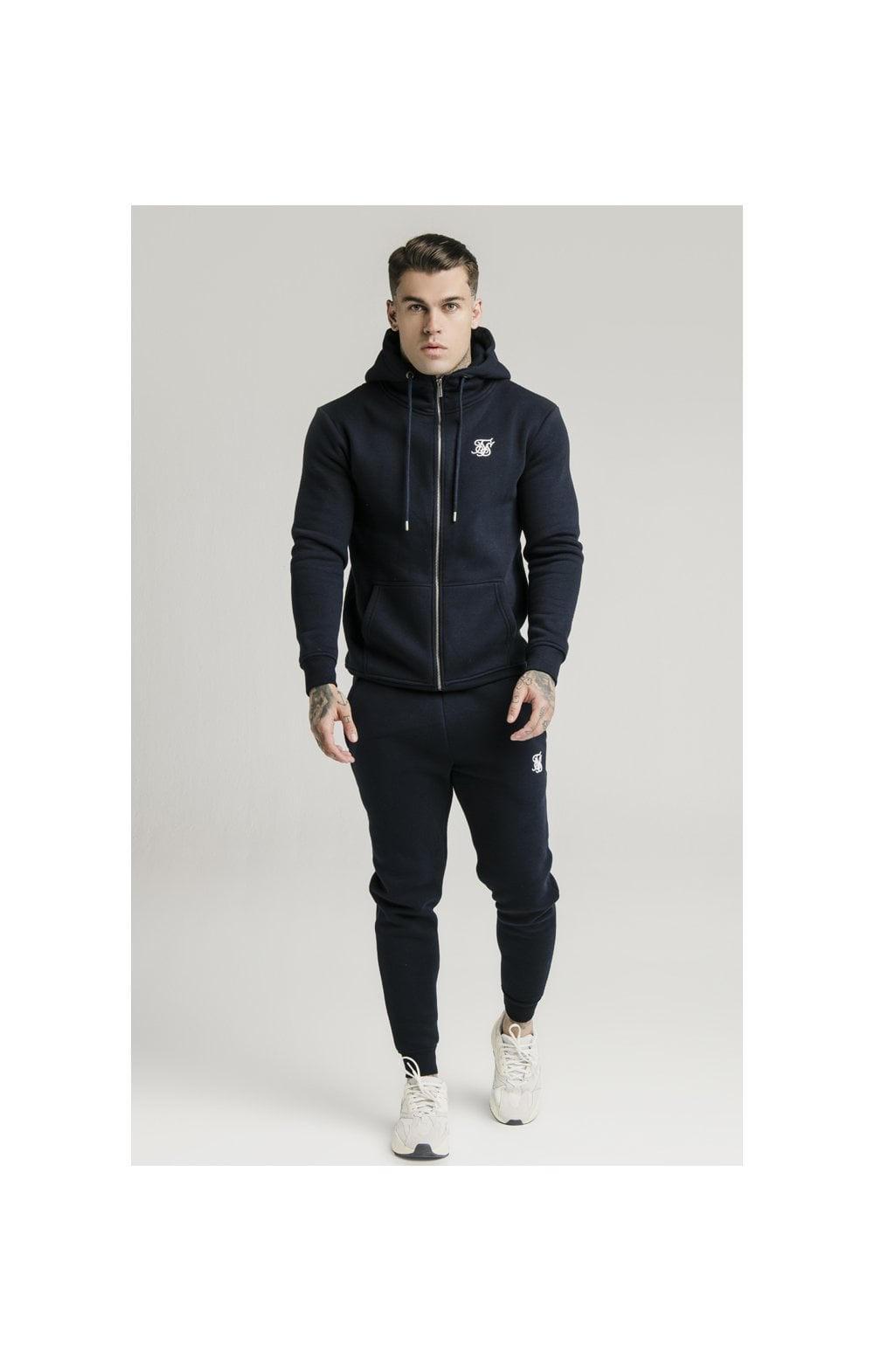 SikSilk Zip Through Funnel Neck Hoodie - Navy (2)