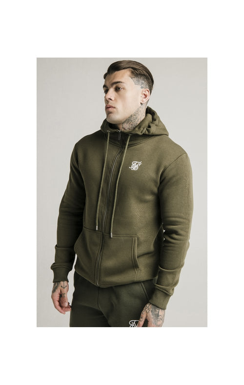 SikSilk Zip Through Funnel Neck Hoodie - Khaki