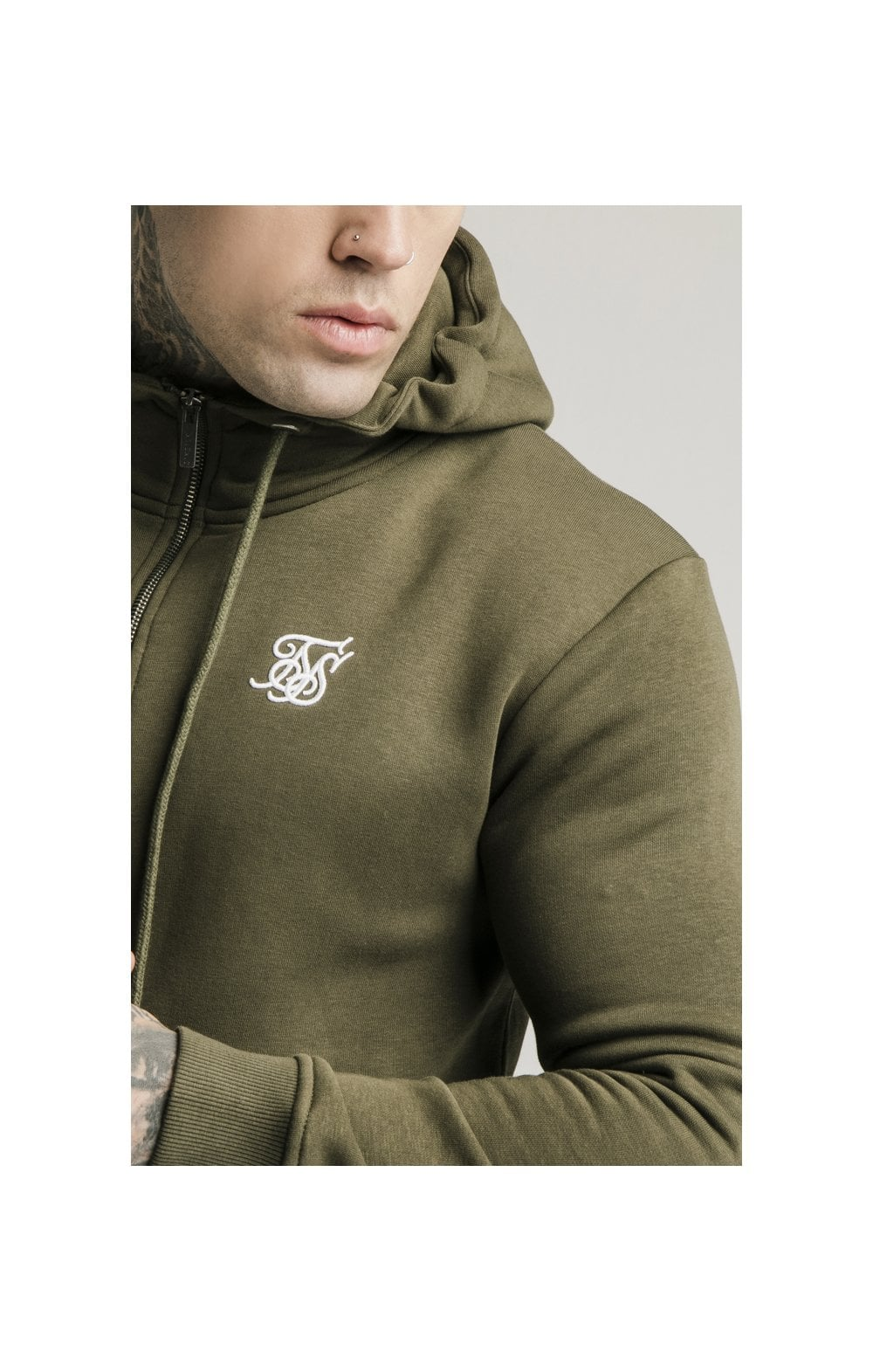 SikSilk Zip Through Funnel Neck Hoodie - Khaki (2)
