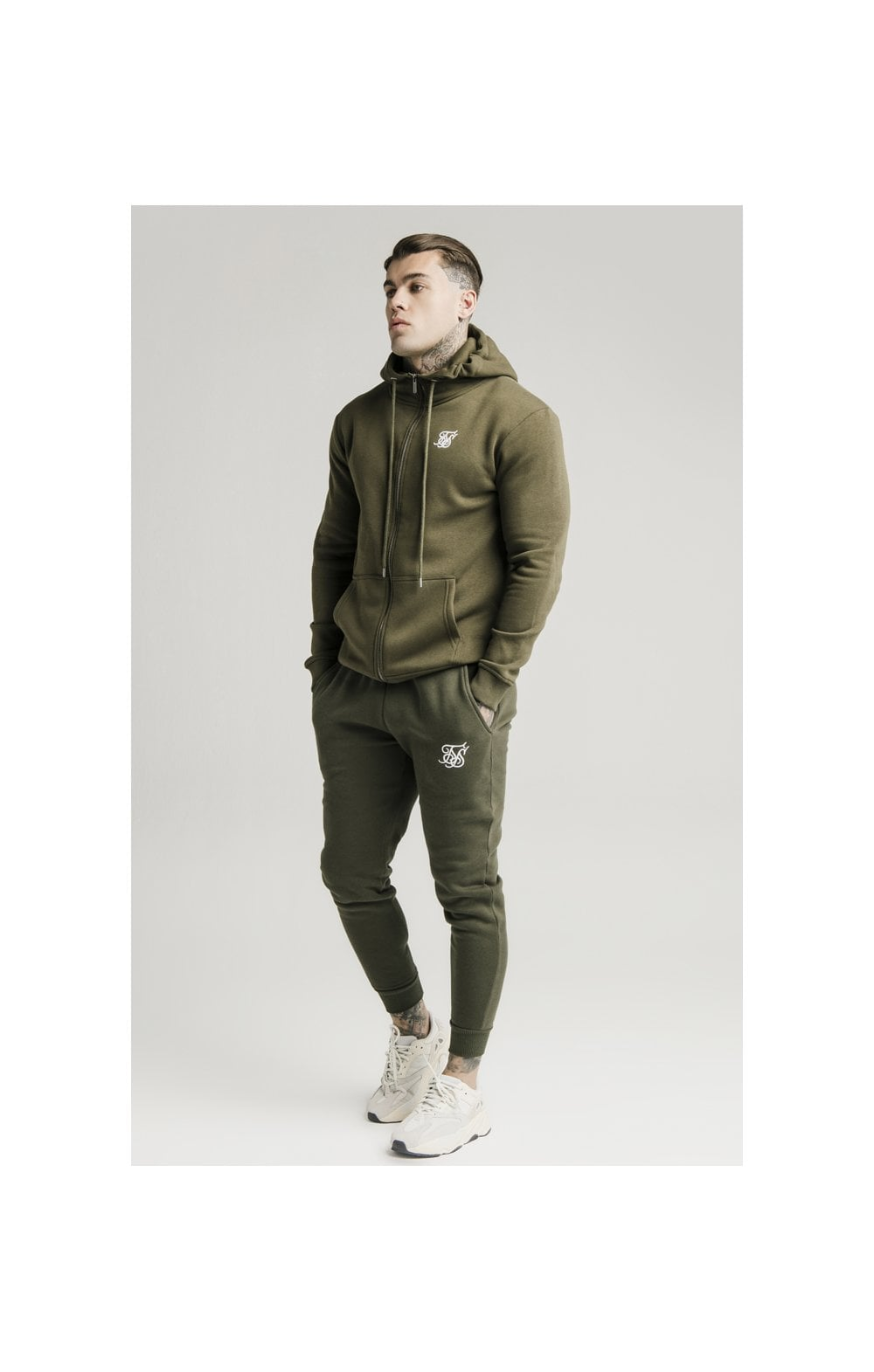 SikSilk Zip Through Funnel Neck Hoodie - Khaki (3)