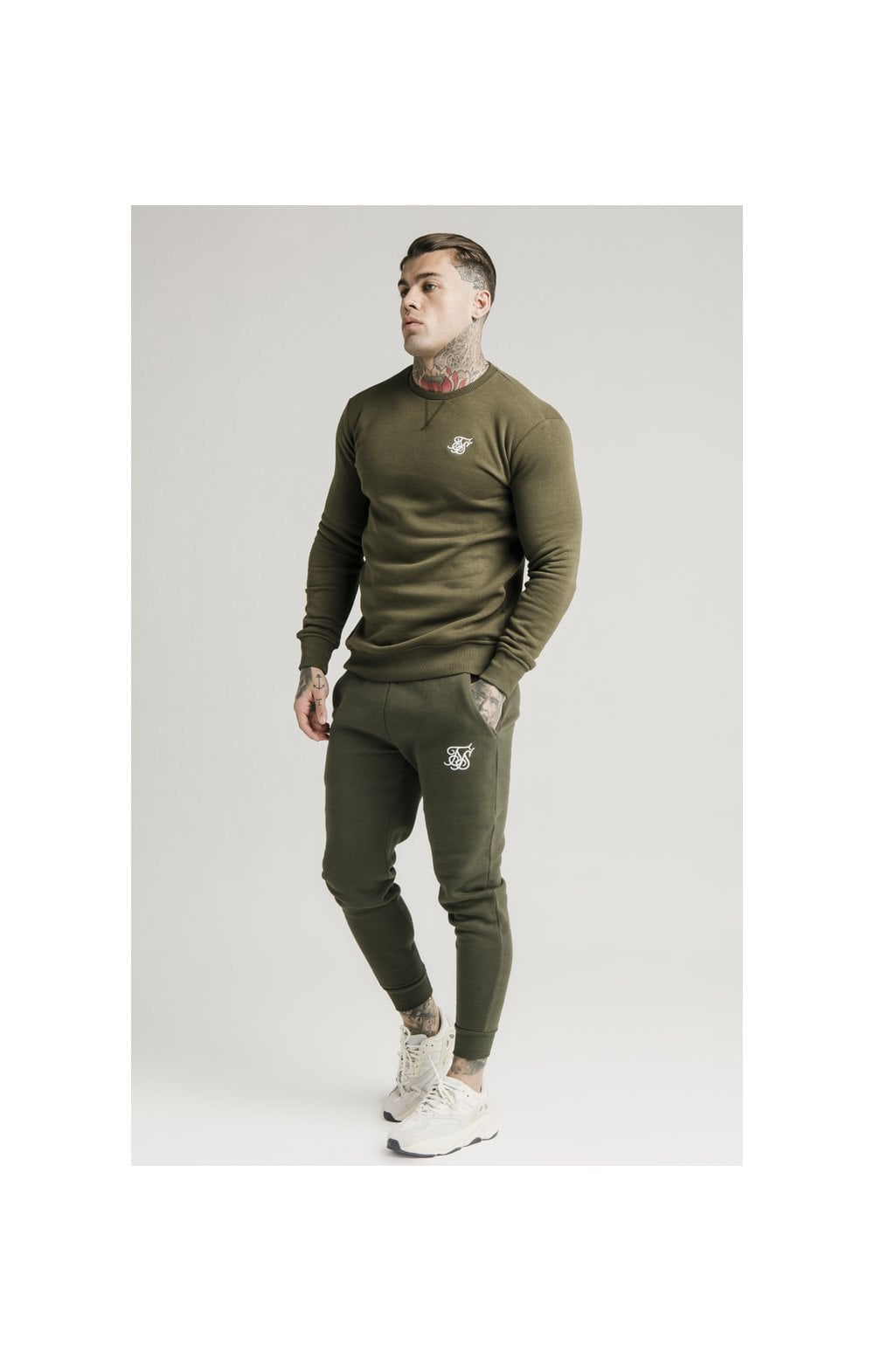 SikSilk Crew Sweat - Khaki (1)
