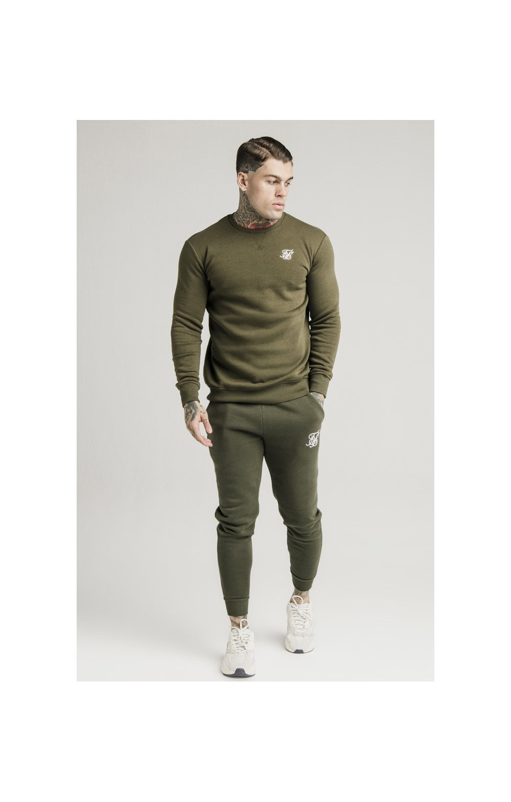 SikSilk Crew Sweat - Khaki (3)