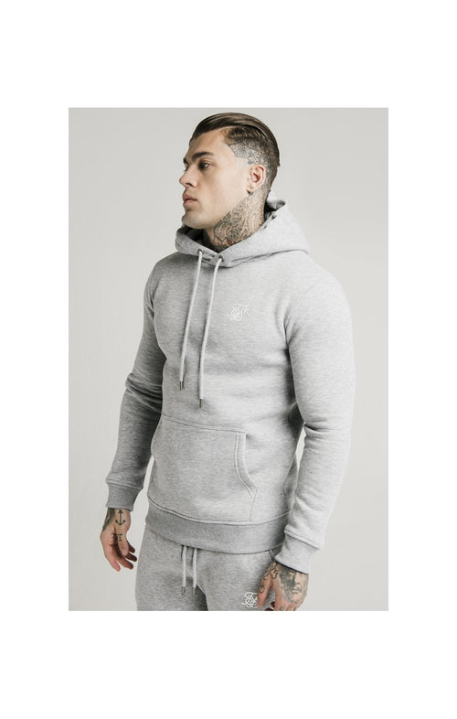 SikSilk Muscle Fit Overhead Hoodie - Grey Marl