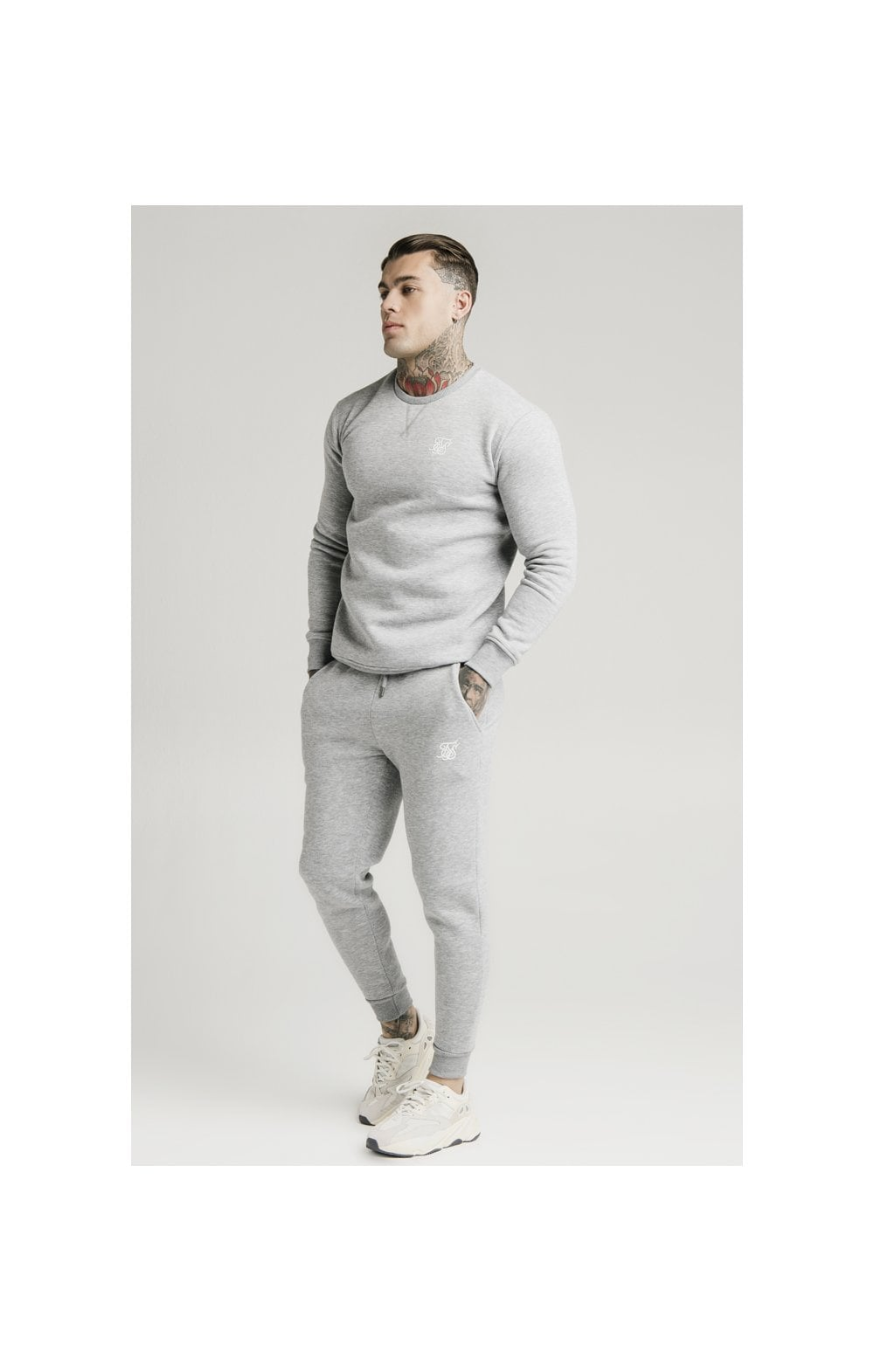 SikSilk Muscle Fit Jogger – Grey Marl (1)
