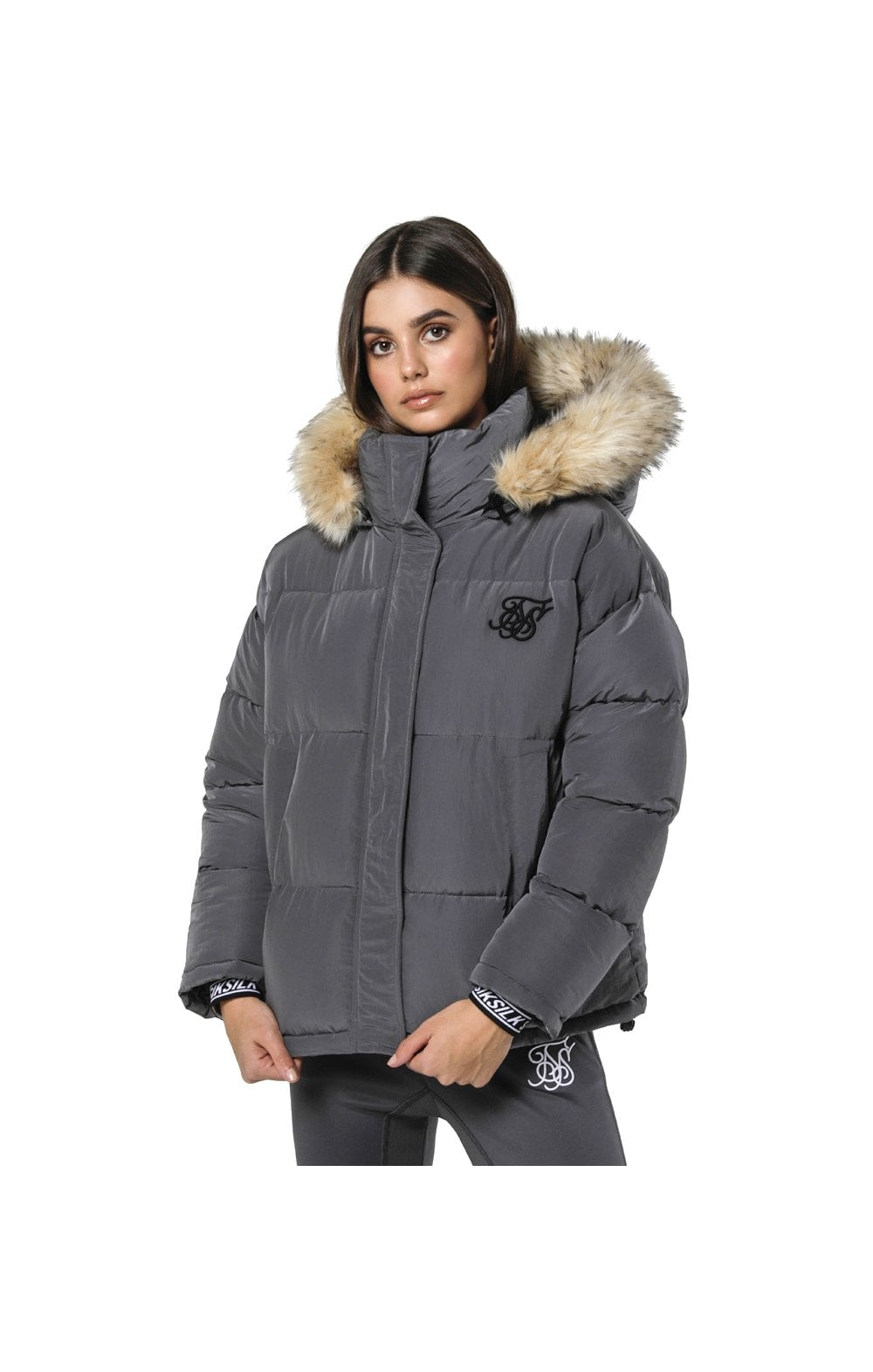 SikSilk Short Parka Jacket - Charcoal