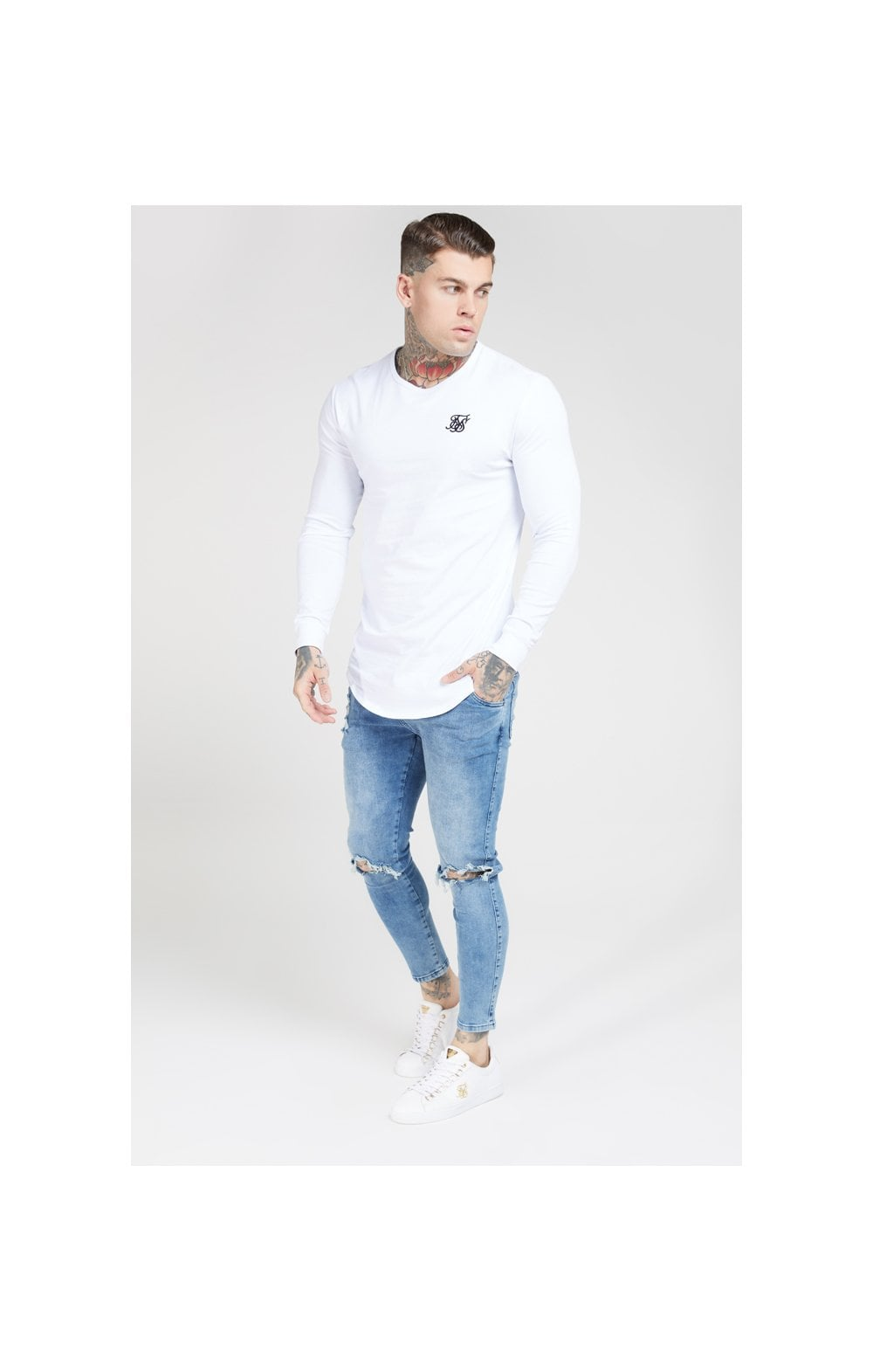 Load image into Gallery viewer, SikSilk L/S Core Gym Tee White (3)