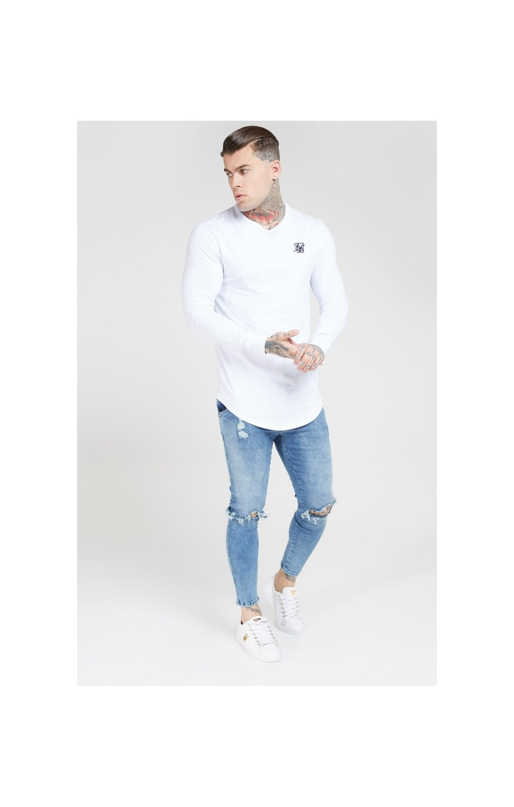Load image into Gallery viewer, SikSilk L/S Core Gym Tee White (4)