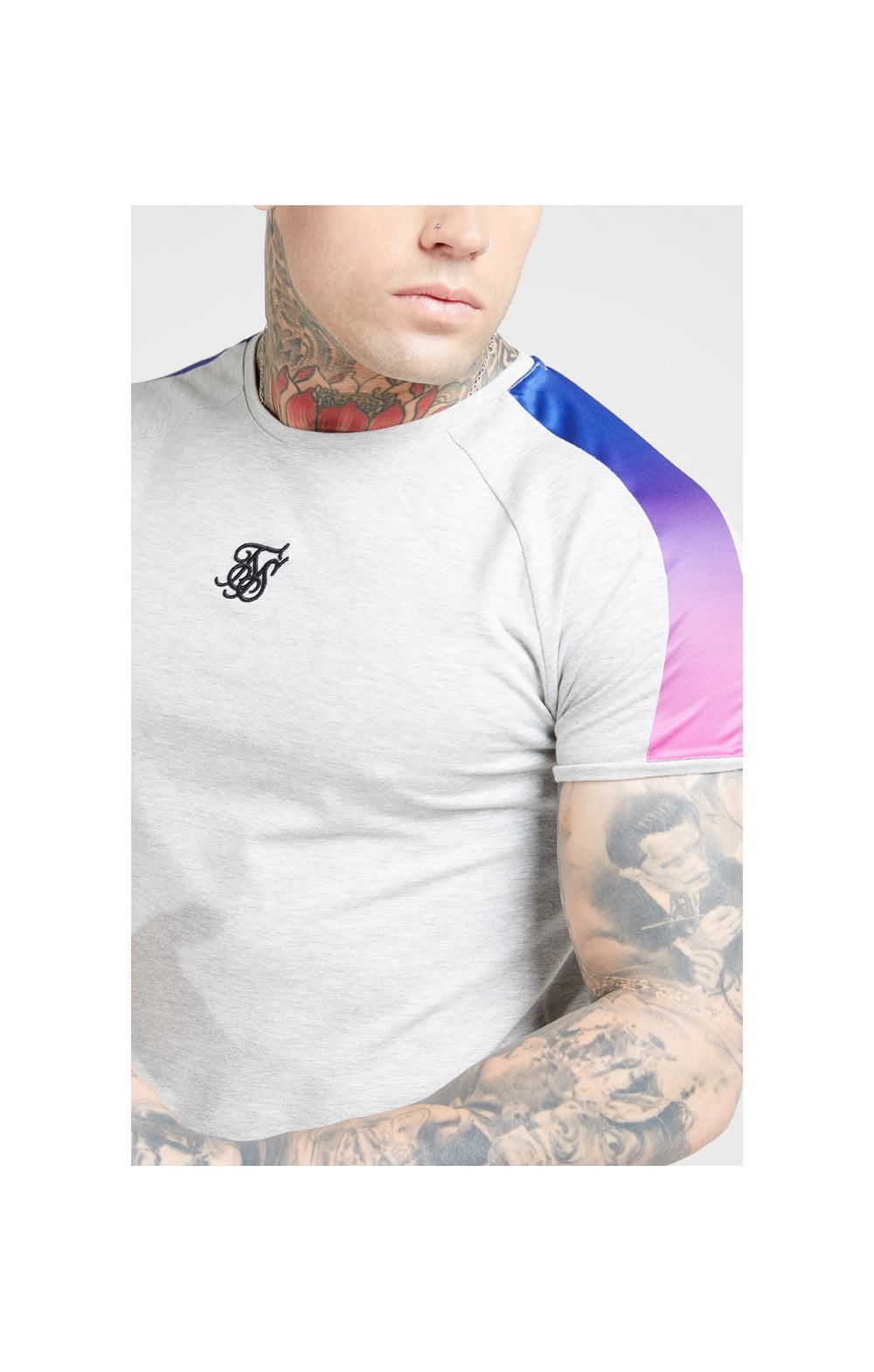 SikSilk S/S Marl Fade Panel Tech Tee – Grey Marl & Neon