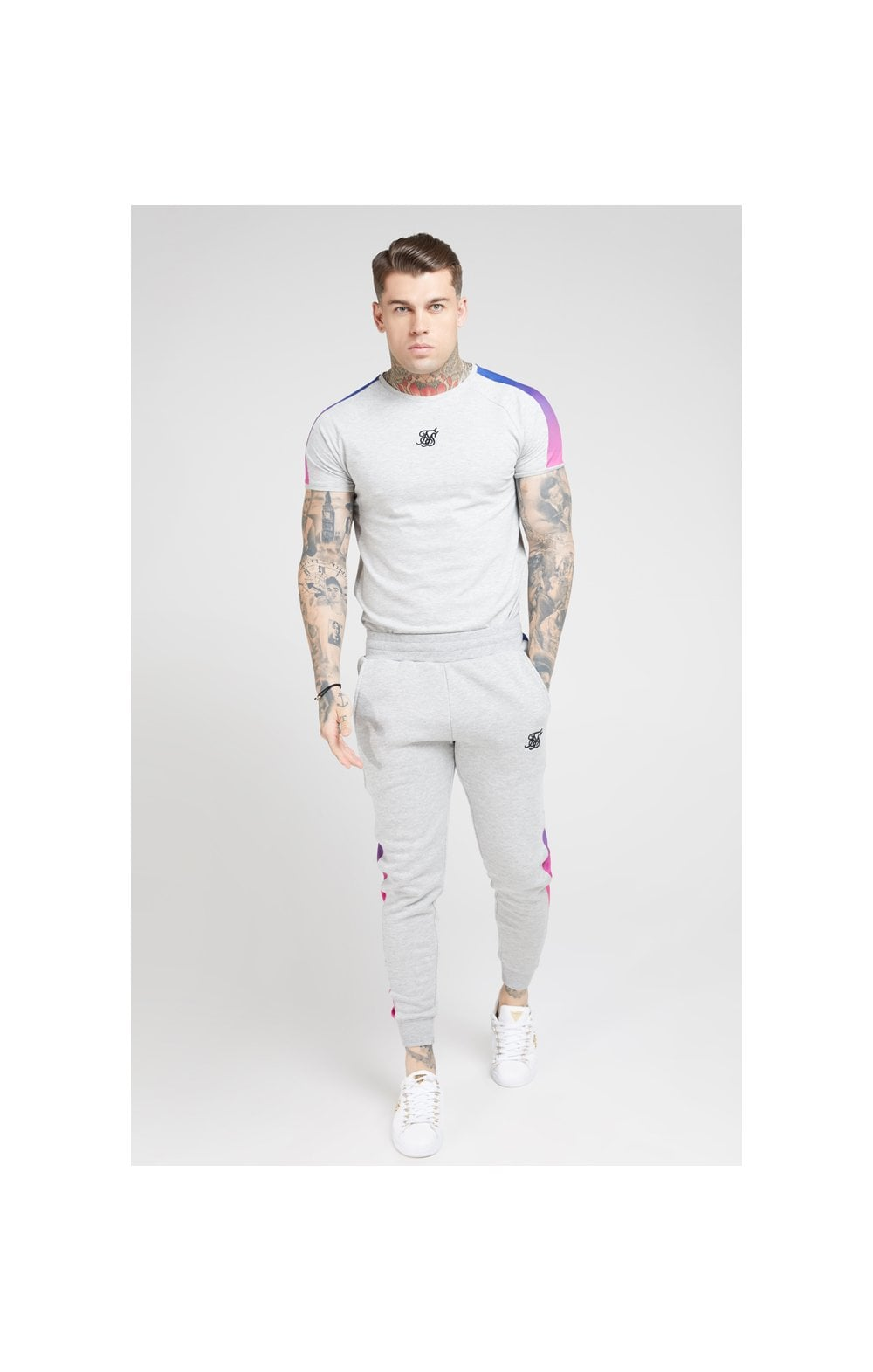 SikSilk S/S Marl Fade Panel Tech Tee – Grey Marl & Neon (3)