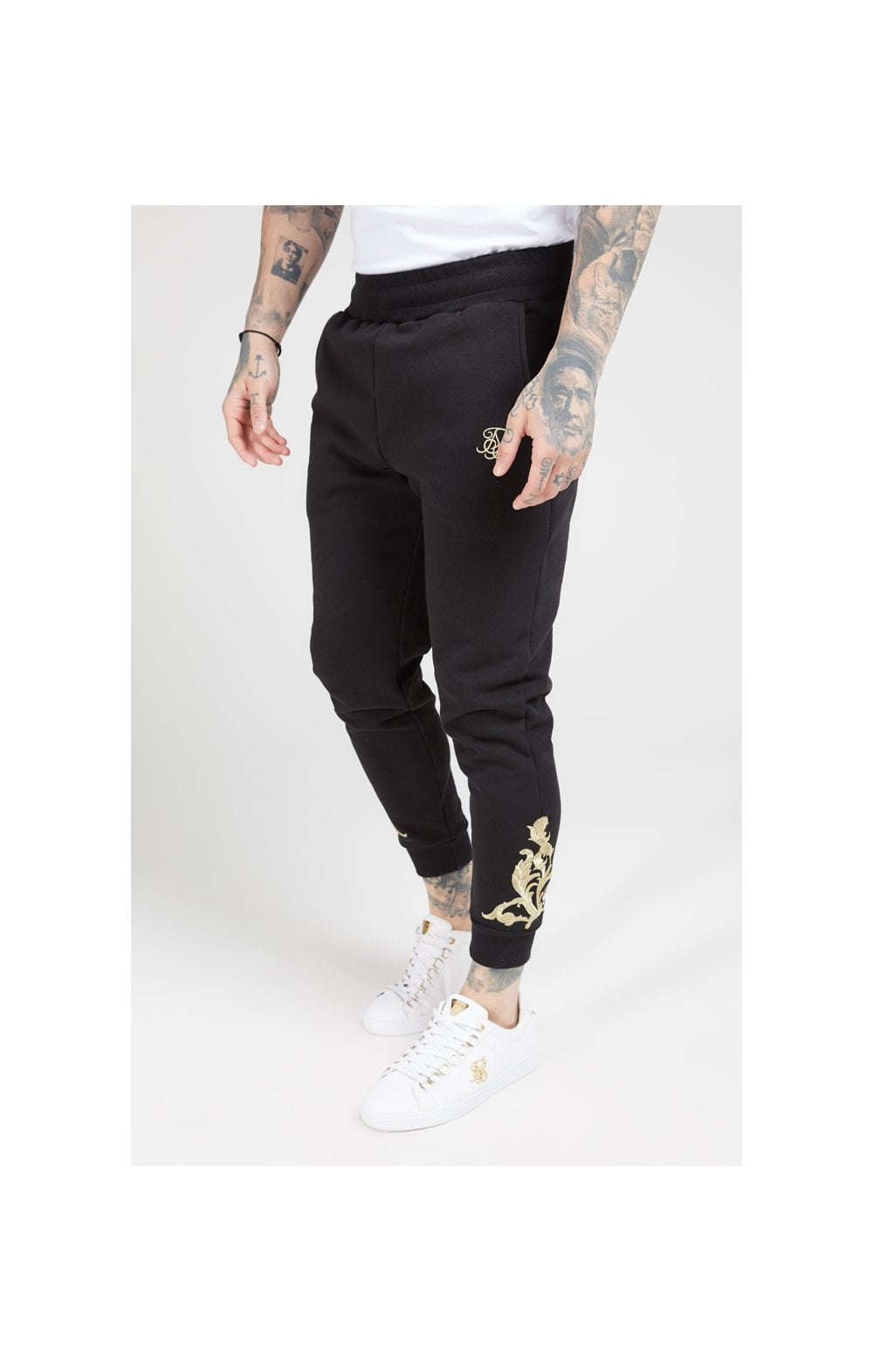 SikSilk Fitted Joggers – Jet Black & Gold