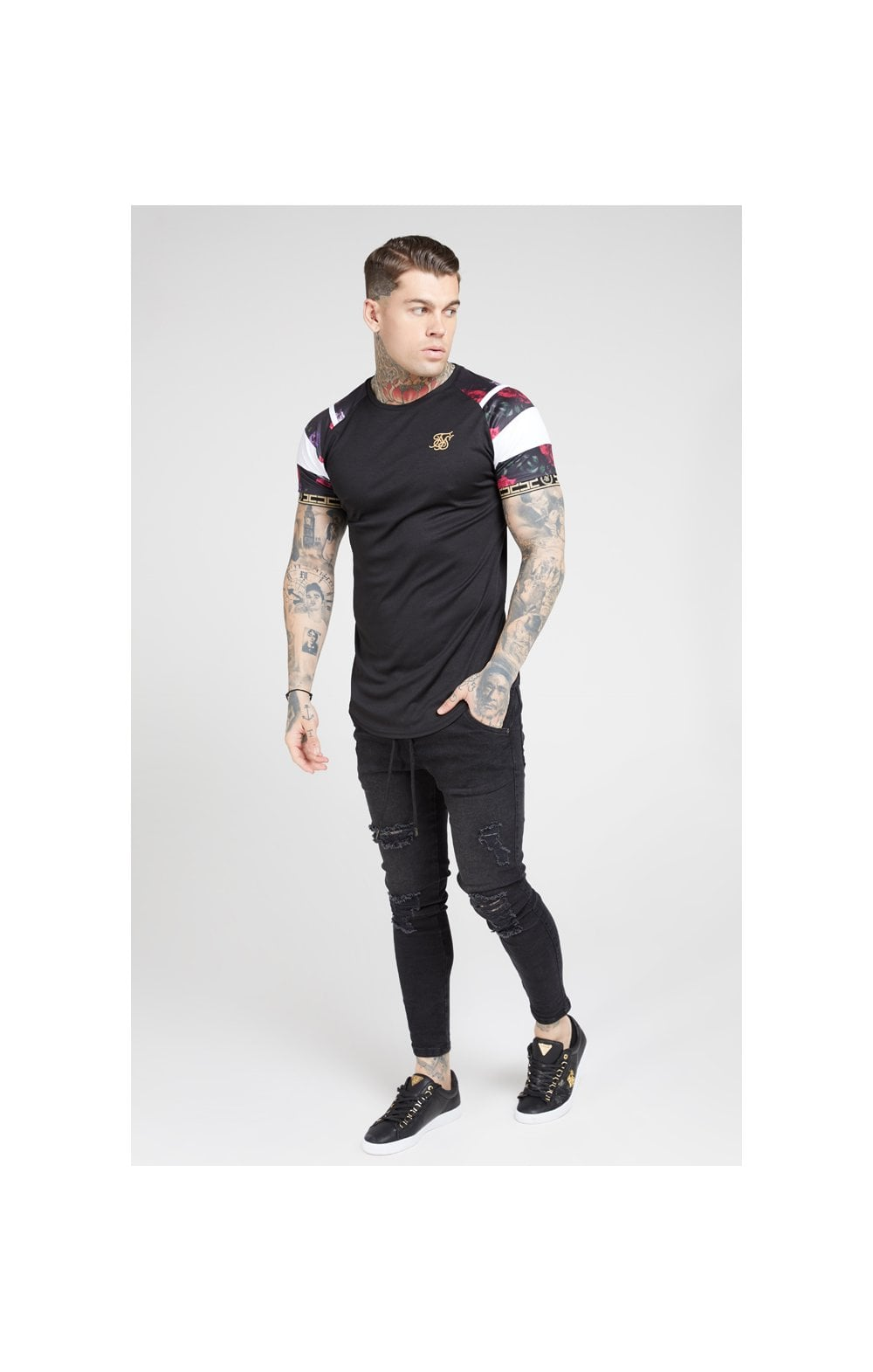 SikSilk S/S Raglan Sprint Tape Tee - Black & Oil Paint (2)