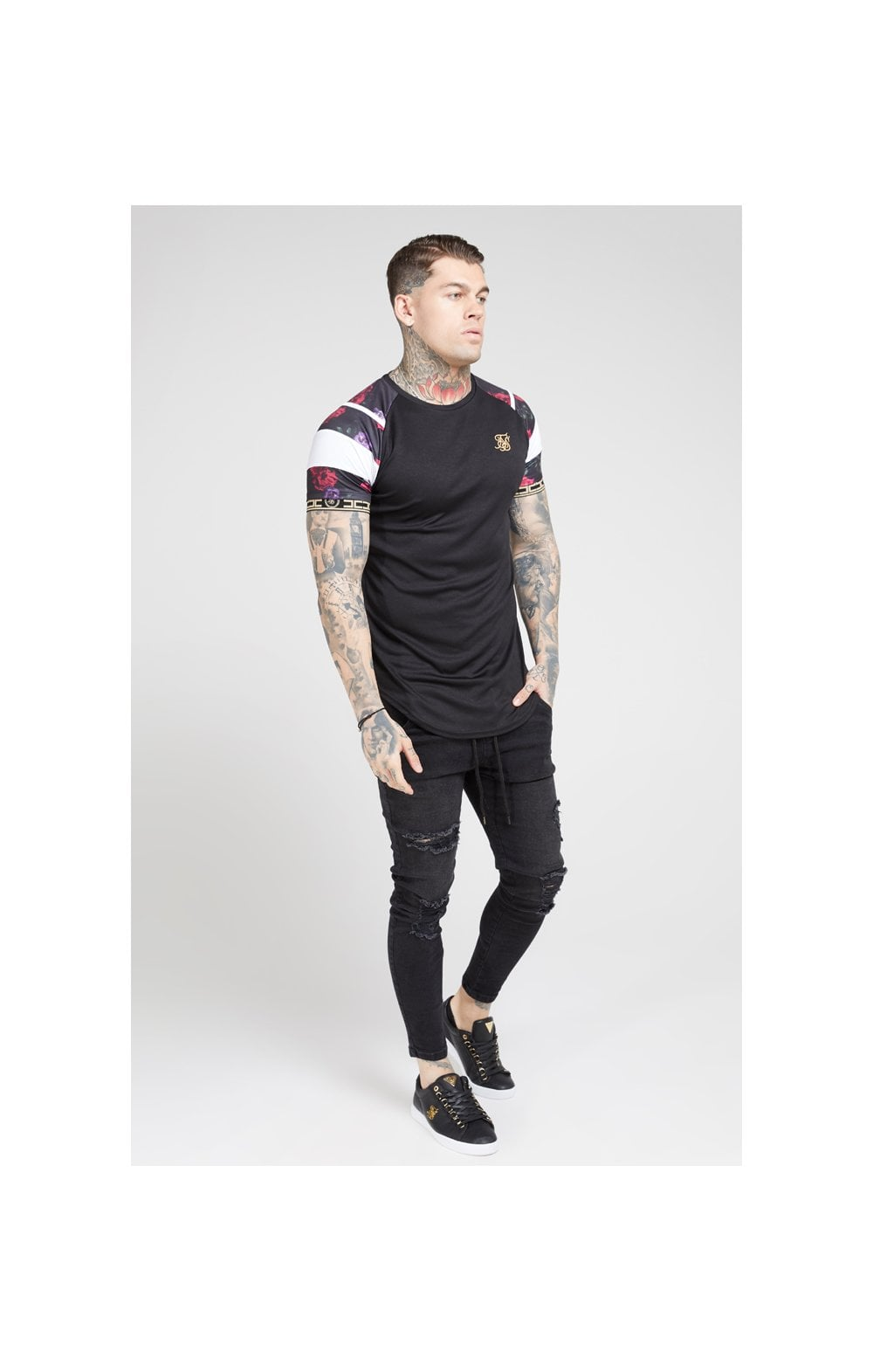 SikSilk S/S Raglan Sprint Tape Tee - Black & Oil Paint (3)