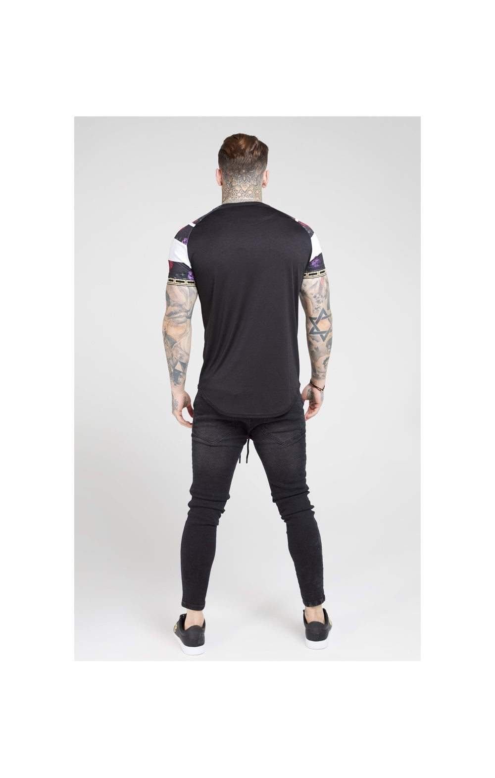 SikSilk S/S Raglan Sprint Tape Tee - Black & Oil Paint (5)