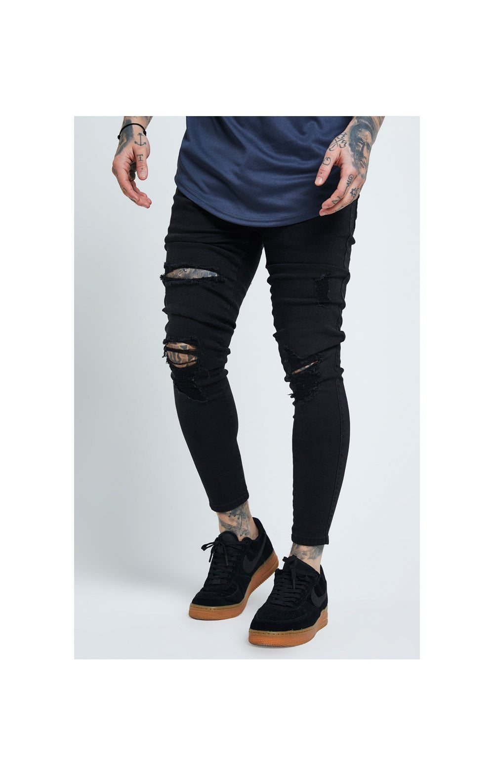 Load image into Gallery viewer, SikSilk Distressed Skinny Jeans – Black