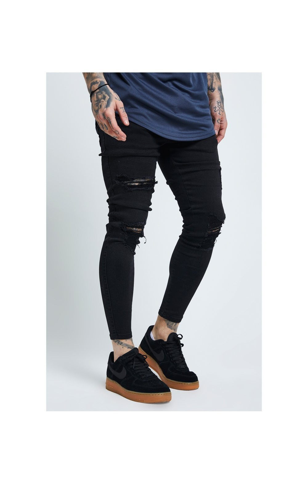Load image into Gallery viewer, SikSilk Distressed Skinny Jeans – Black (1)