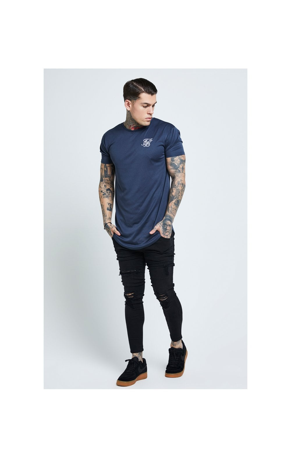 Load image into Gallery viewer, SikSilk Distressed Skinny Jeans – Black (3)