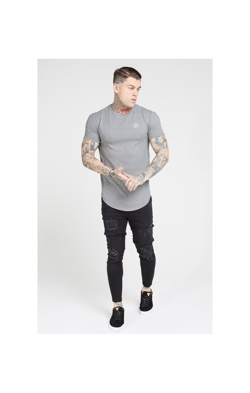 SikSilk S/S Core Gym Tee – Grey Marl (2)