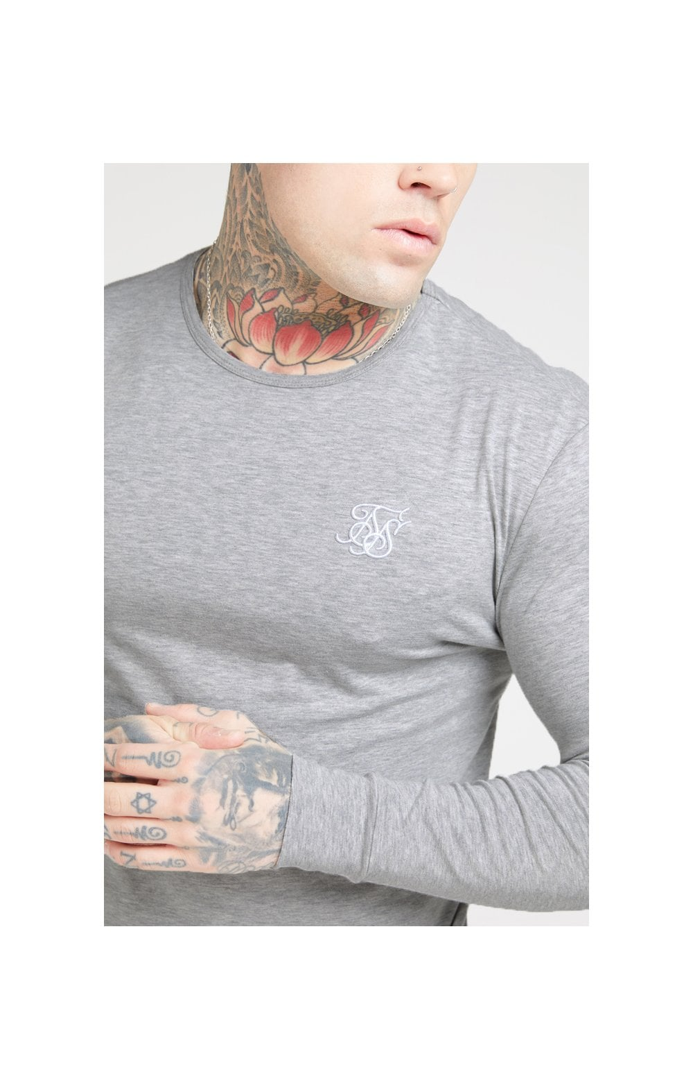 Load image into Gallery viewer, SikSilk L/S Core Gym Tee – Grey Marl (4)