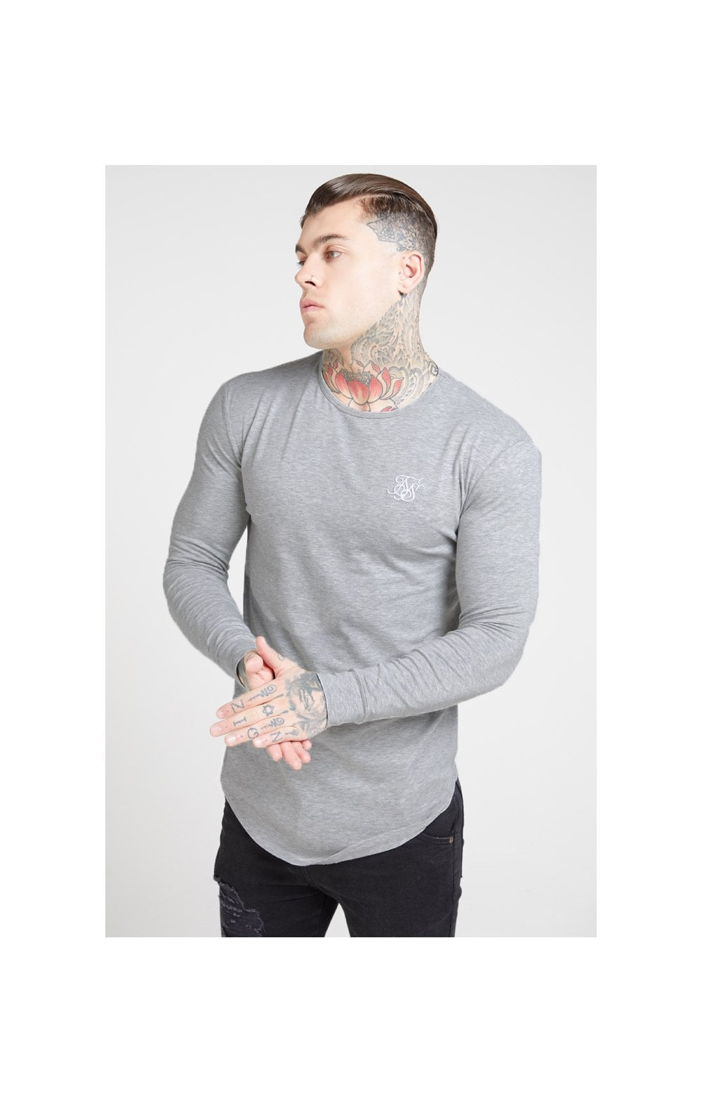 Load image into Gallery viewer, SikSilk L/S Core Gym Tee – Grey Marl