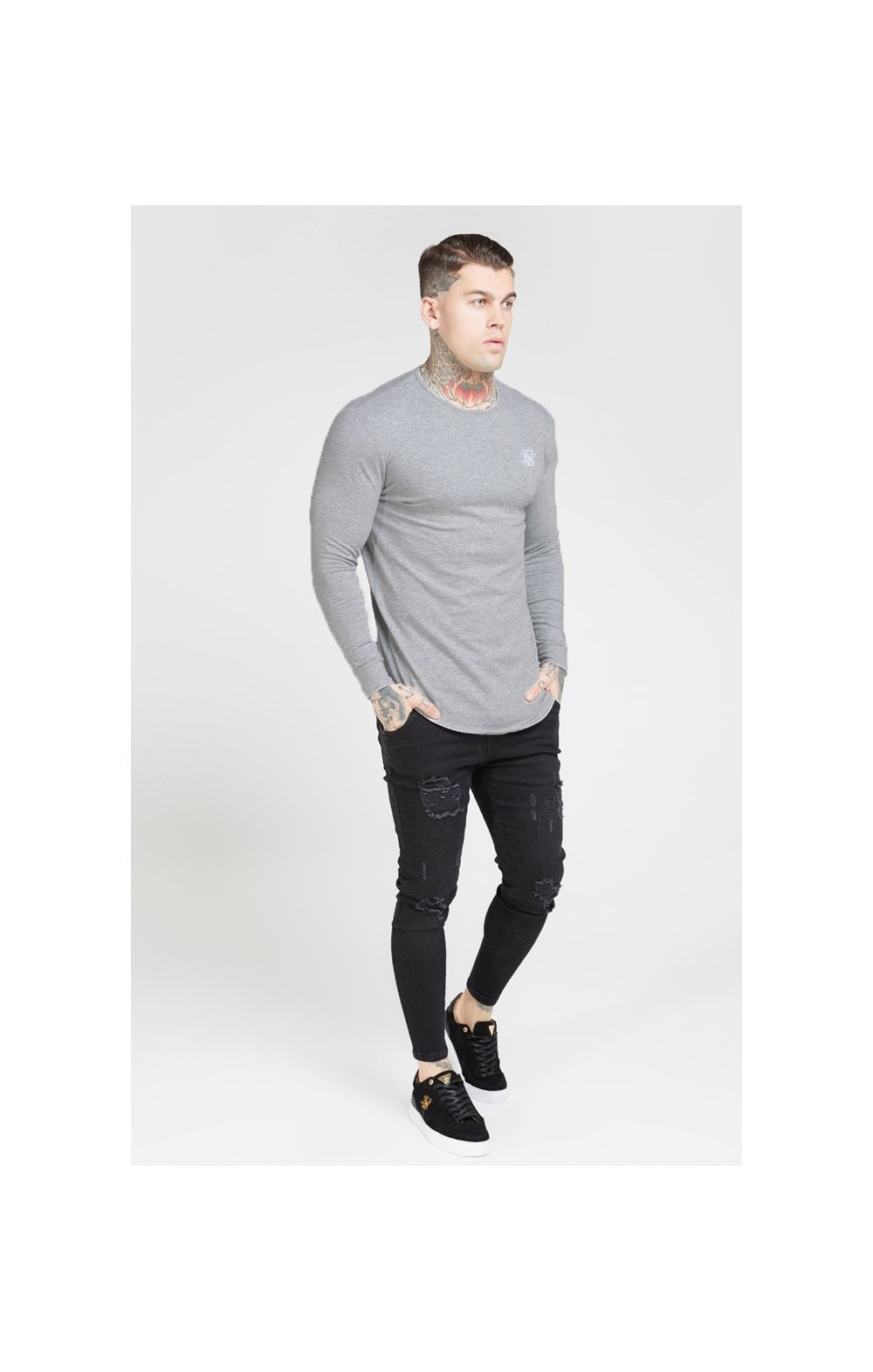 SikSilk L/S Core Gym Tee – Grey Marl (1)