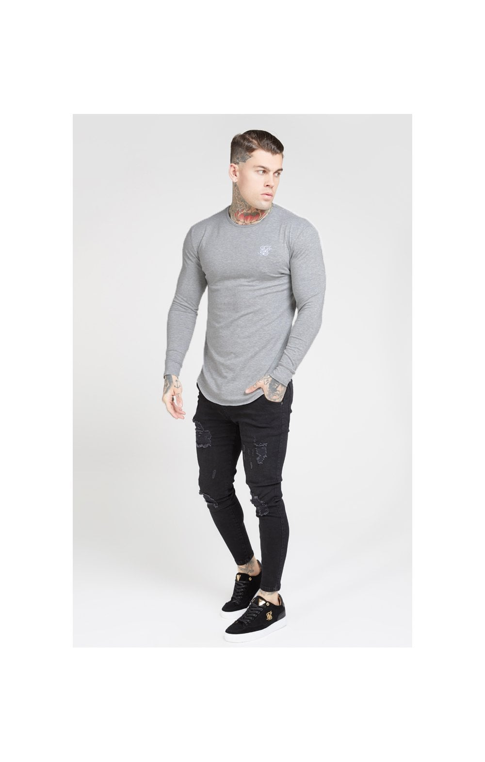 SikSilk L/S Core Gym Tee – Grey Marl (2)