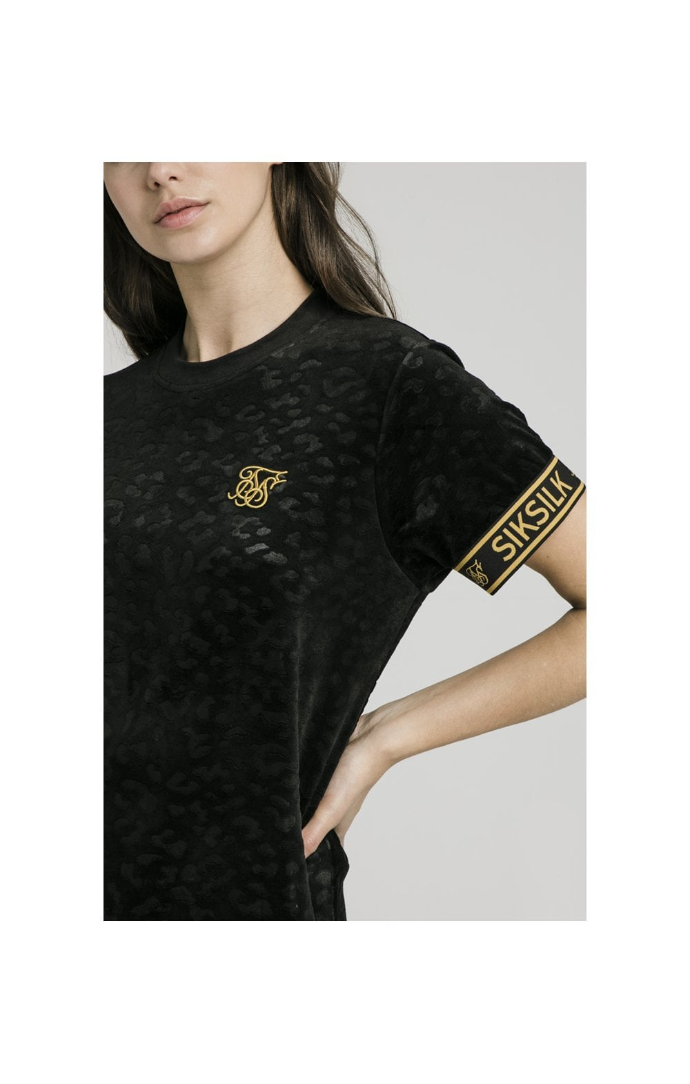 SikSilk Debossed Velour T-Shirt Dress - Black