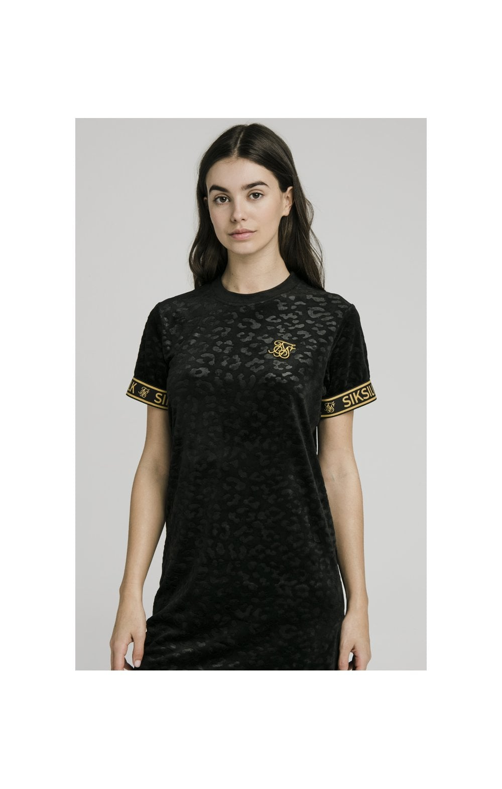 SikSilk Debossed Velour T-Shirt Dress - Black (3)