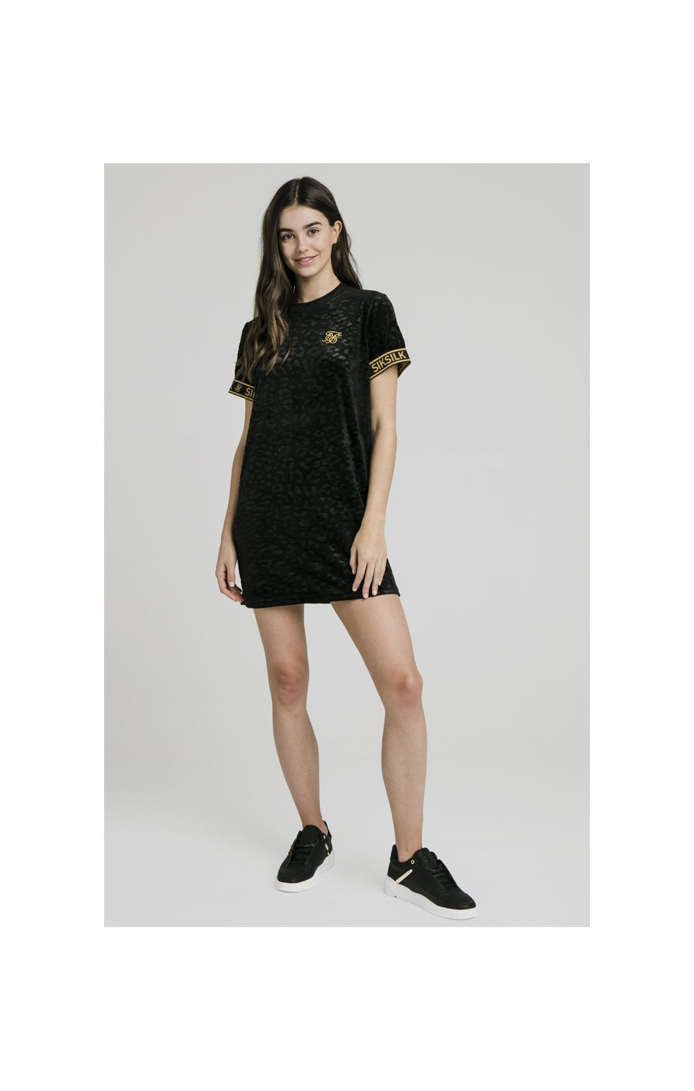 SikSilk Debossed Velour T-Shirt Dress - Black (1)