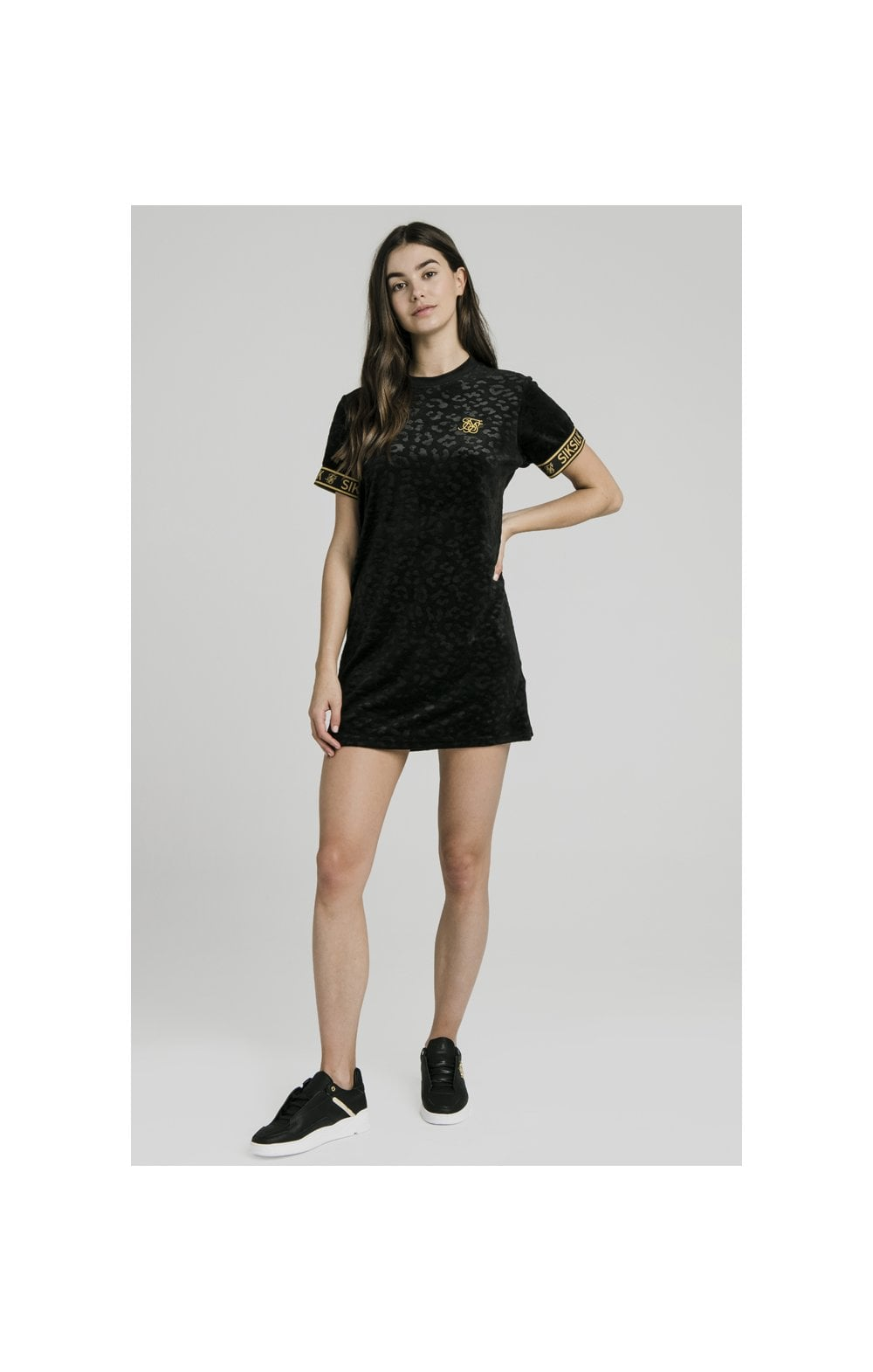 SikSilk Debossed Velour T-Shirt Dress - Black (4)