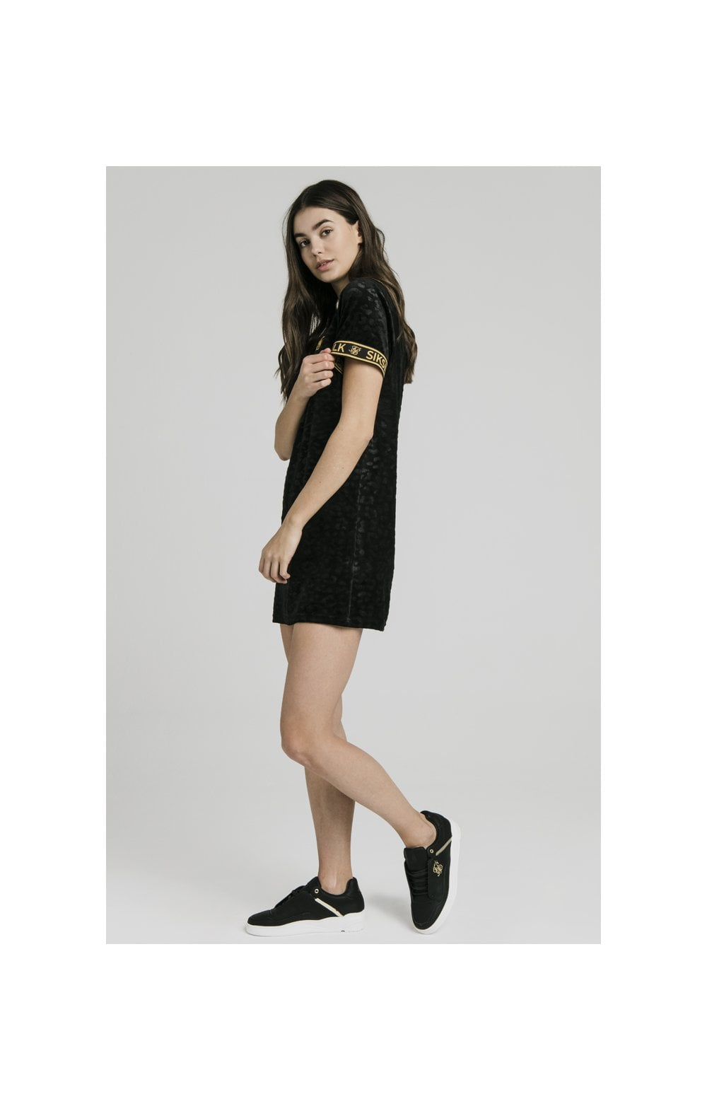 SikSilk Debossed Velour T-Shirt Dress - Black (6)