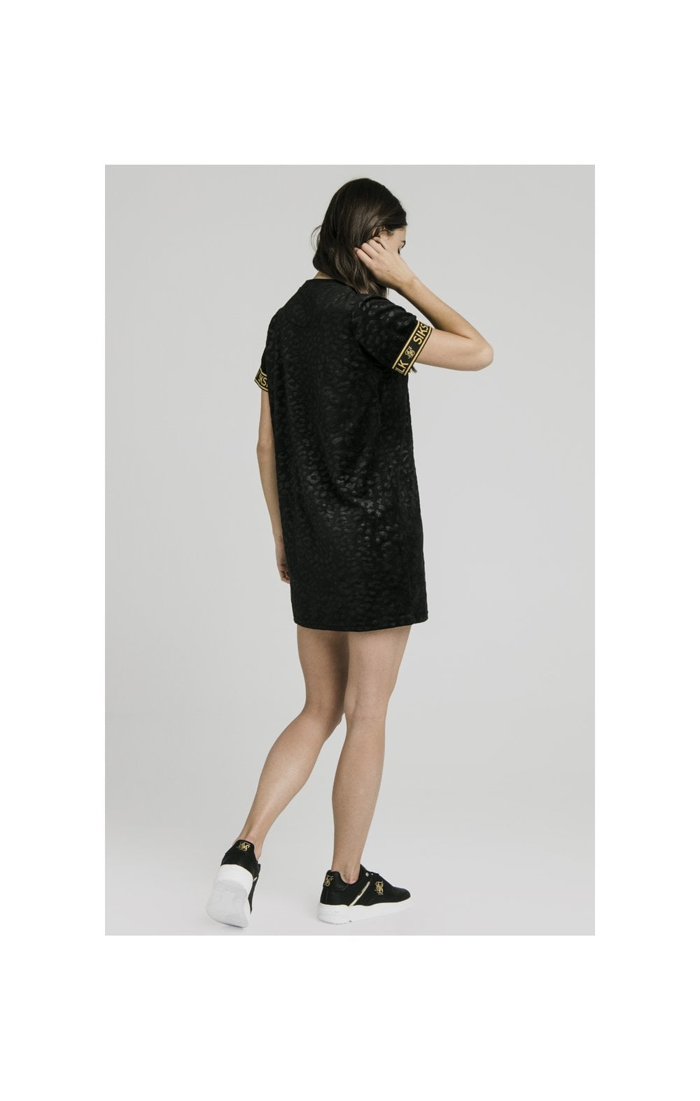 SikSilk Debossed Velour T-Shirt Dress - Black (7)