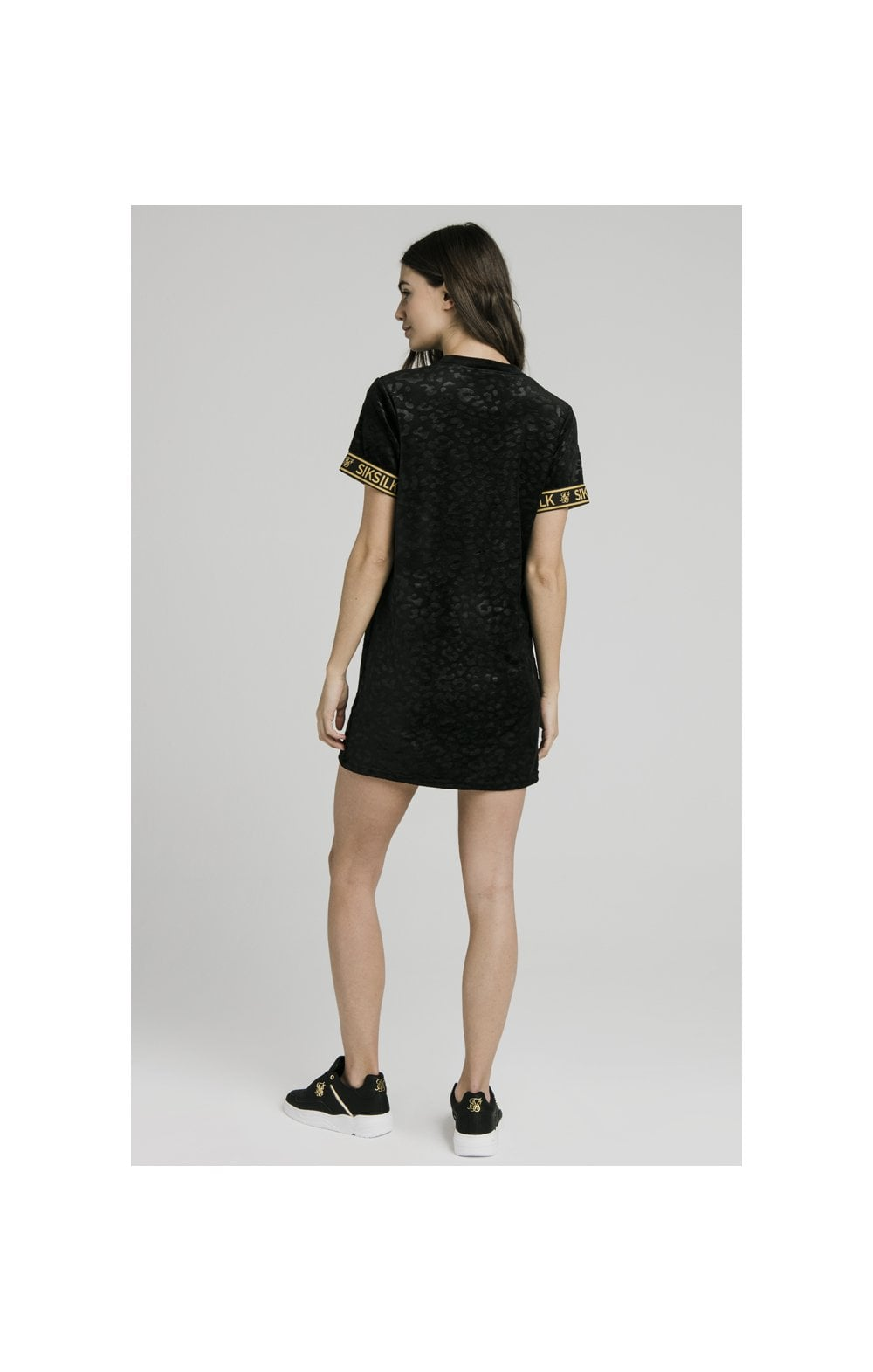 SikSilk Debossed Velour T-Shirt Dress - Black (8)