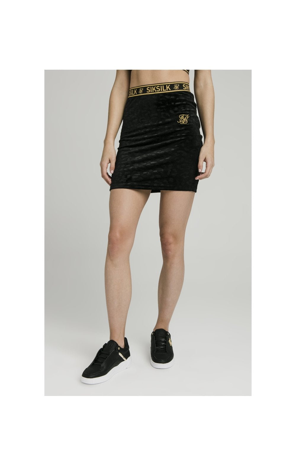SikSillk Debossed velour Skirt – Black