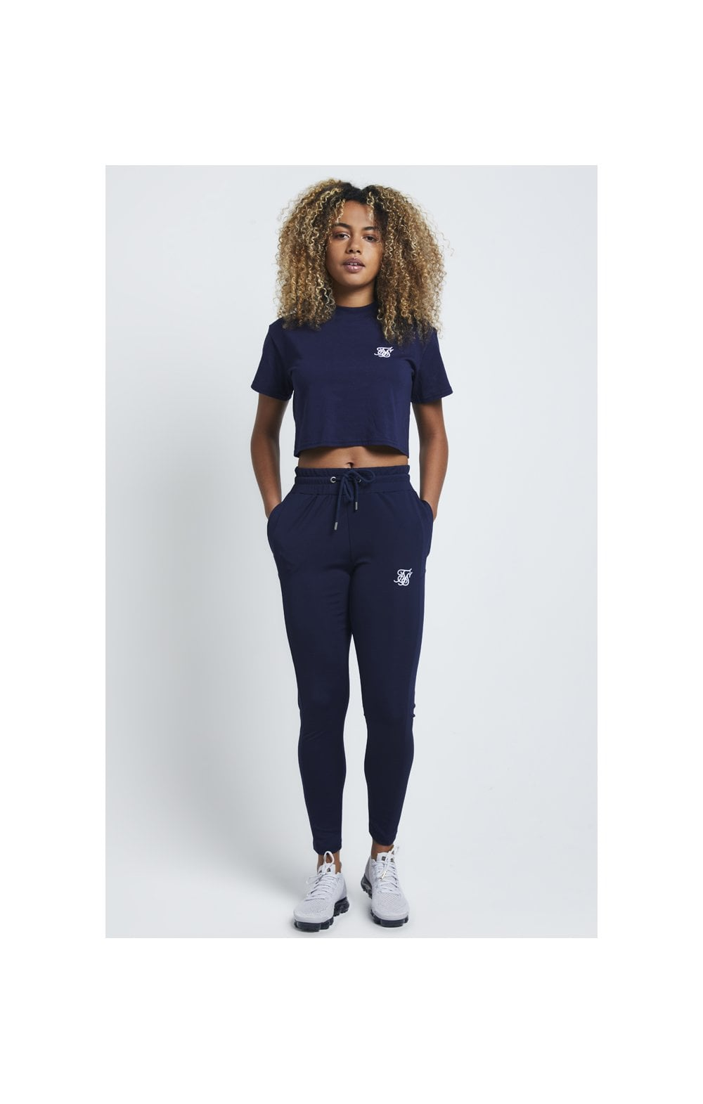 Load image into Gallery viewer, SikSilk Retro Box Fit Crop Tee – Navy (4)
