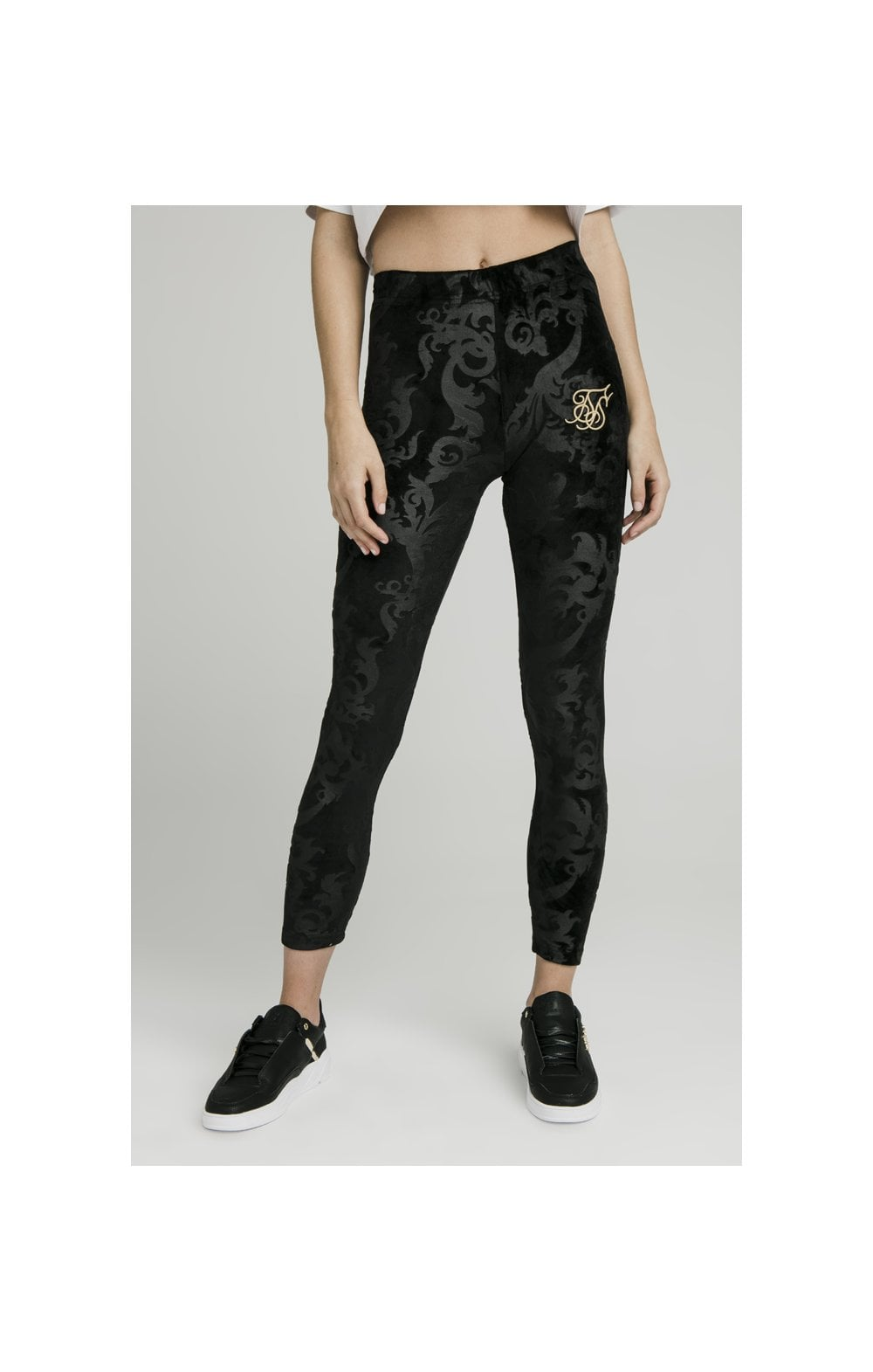 SikSilk Embossed Velour Leggings – Black