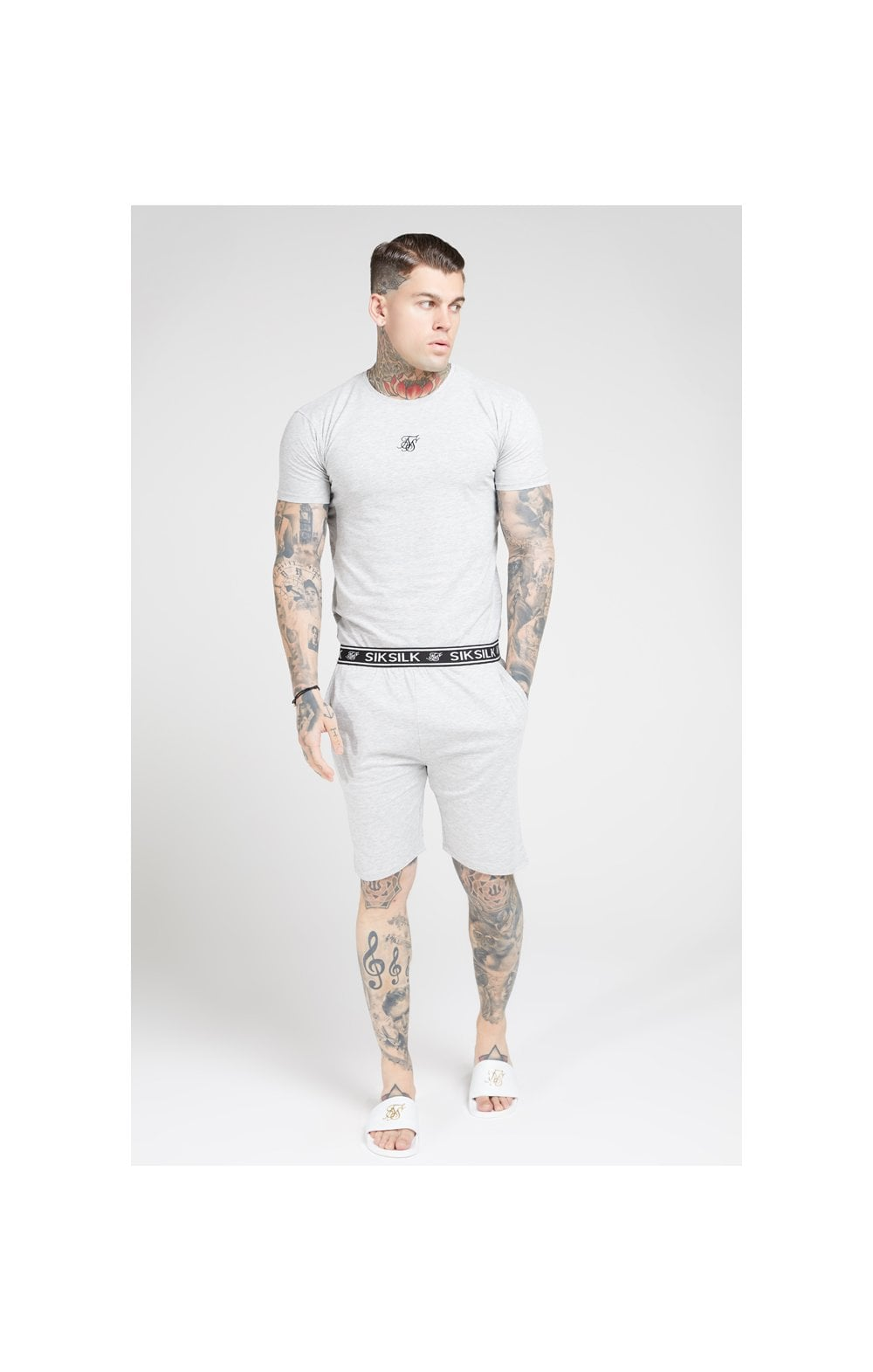 SikSilk Loose Fit Jersey Shorts - Grey Marl (1)